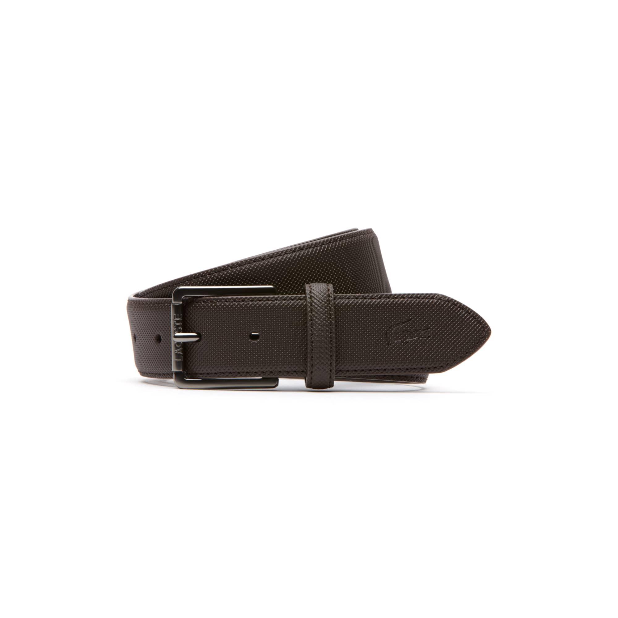 Men's classic belt in petit piqué embossed leather