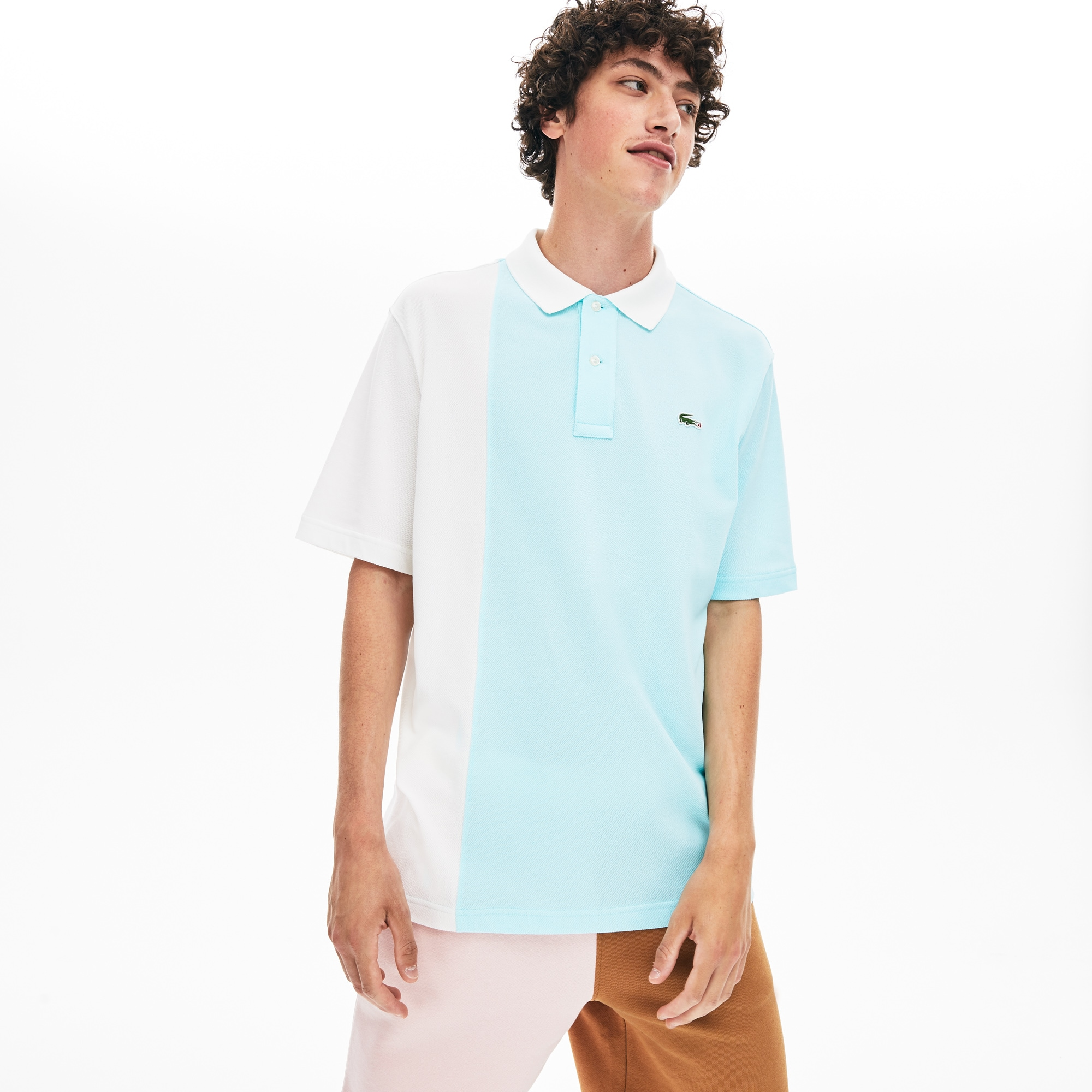 Unisex Lacoste LIVE x GOLF le FLEUR Loose Fit Colourblock Piqué Polo Shirt
