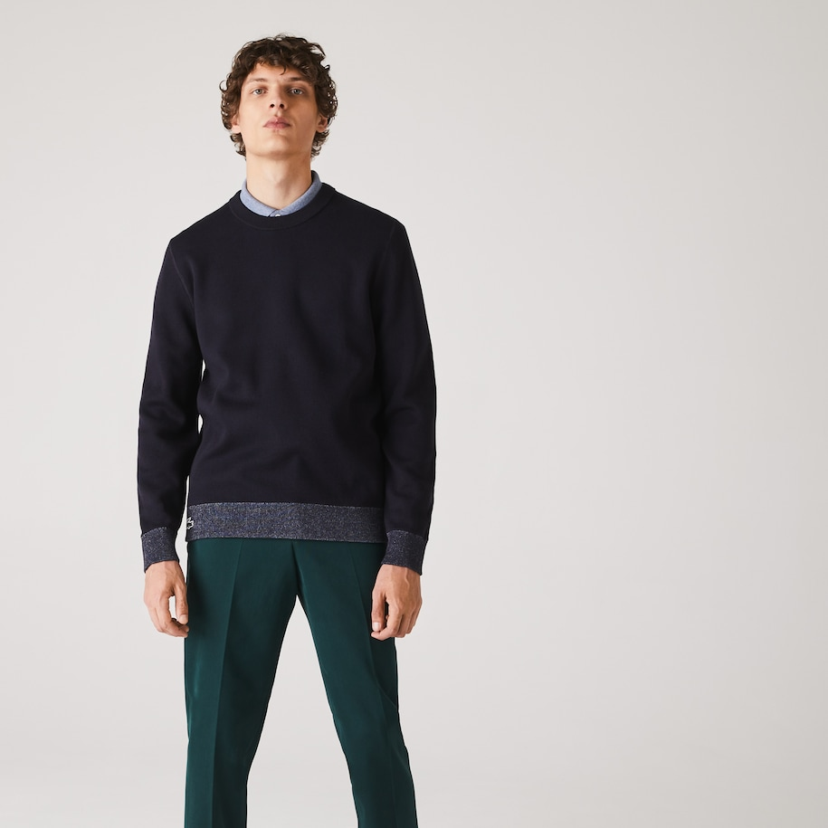 Men's Reversible Crew Neck Contrast Sweater