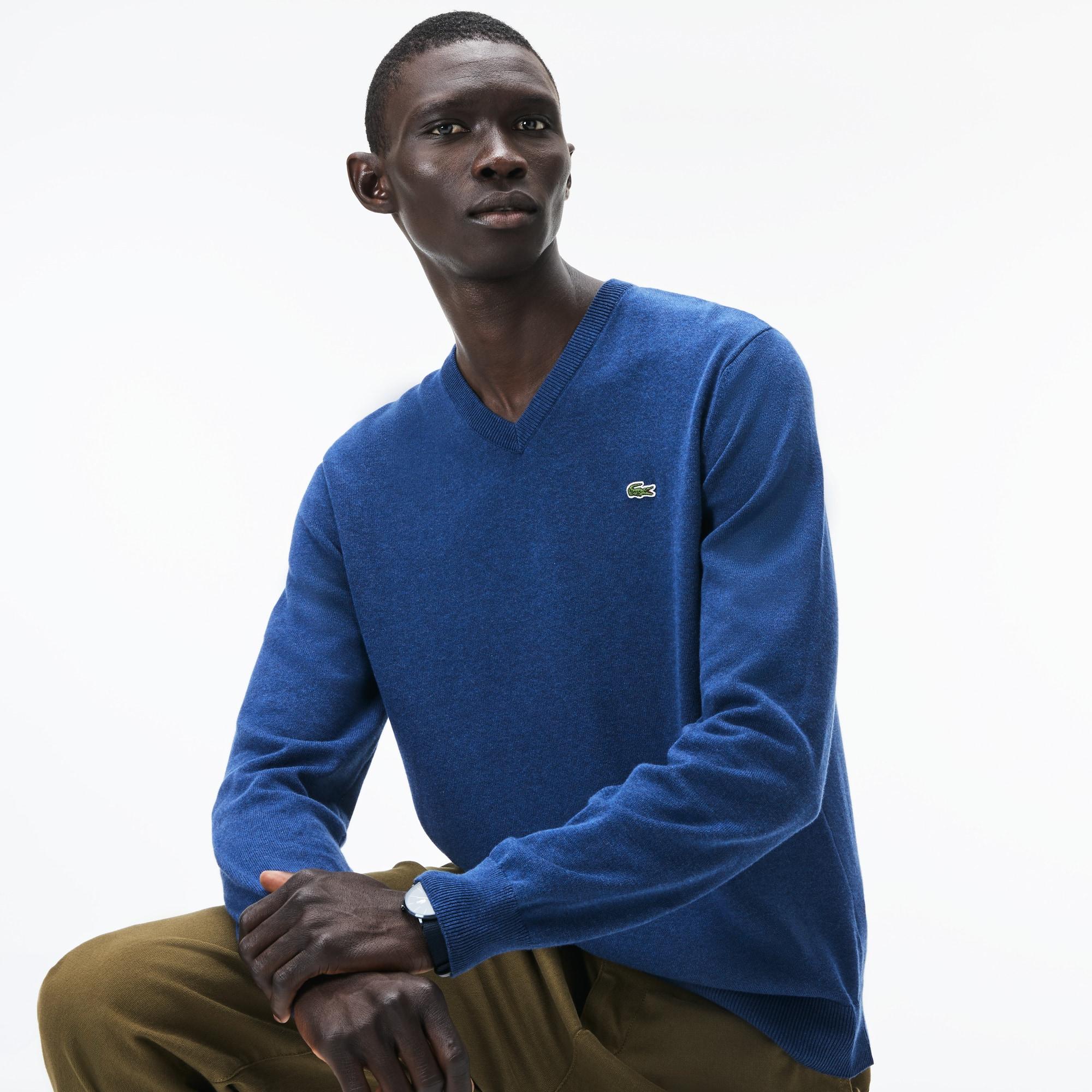 Men's V-neck Caviar Piqué Accent Cotton Jersey Sweater