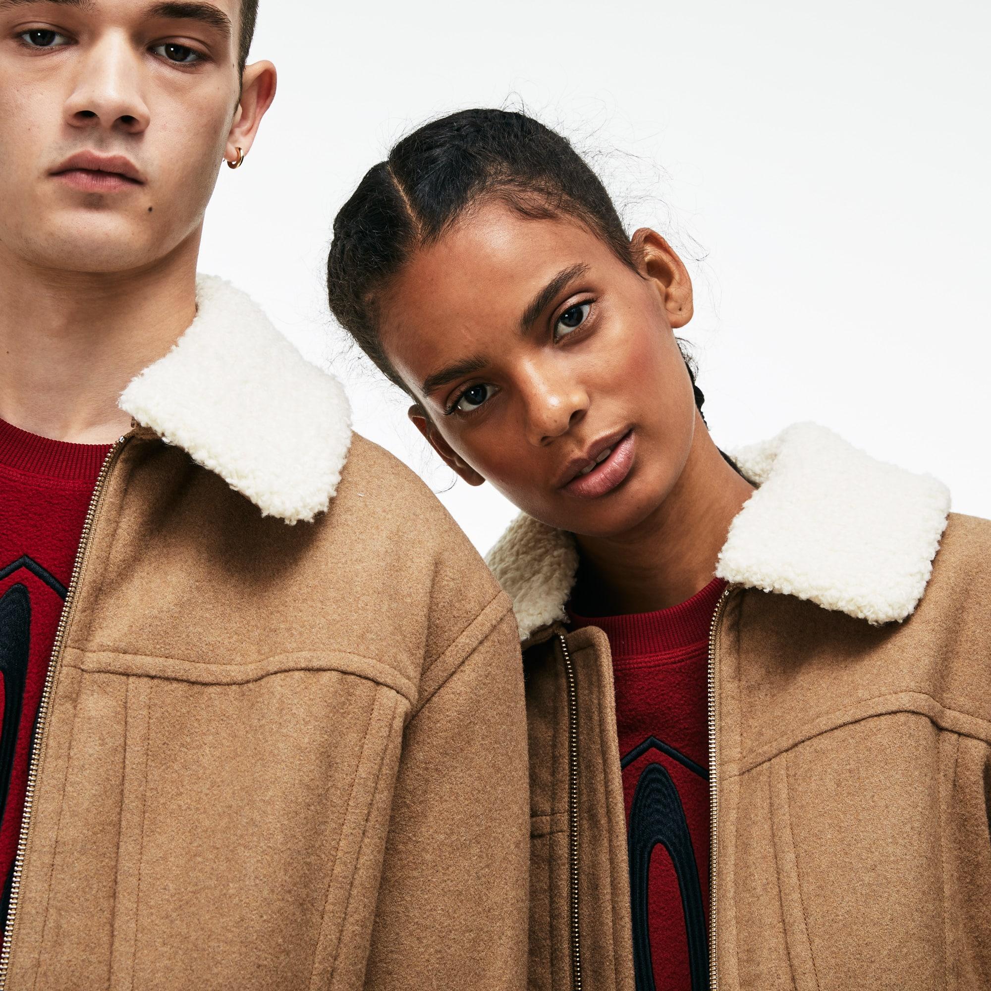 Unisex Lacoste LIVE Detachable Collar Wool Broadcloth Zip Jacket