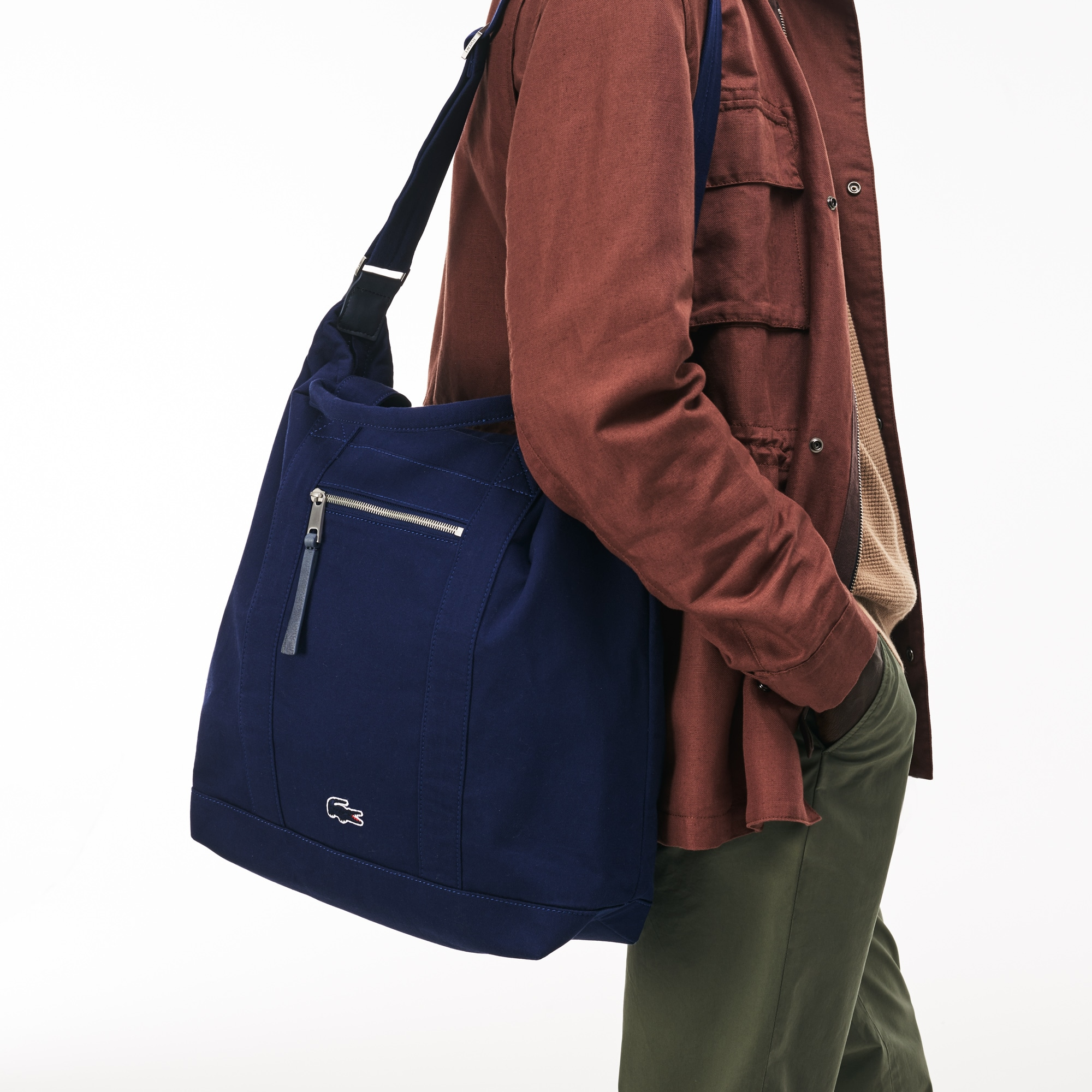 Men's Summer Faded Cotton Zip Tote Bag