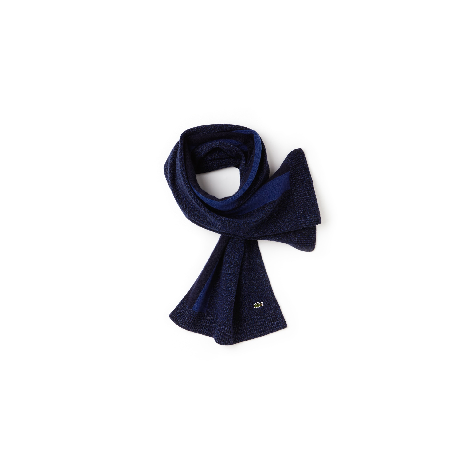 Men's Contrast Band Mouliné Wool Jersey Scarf