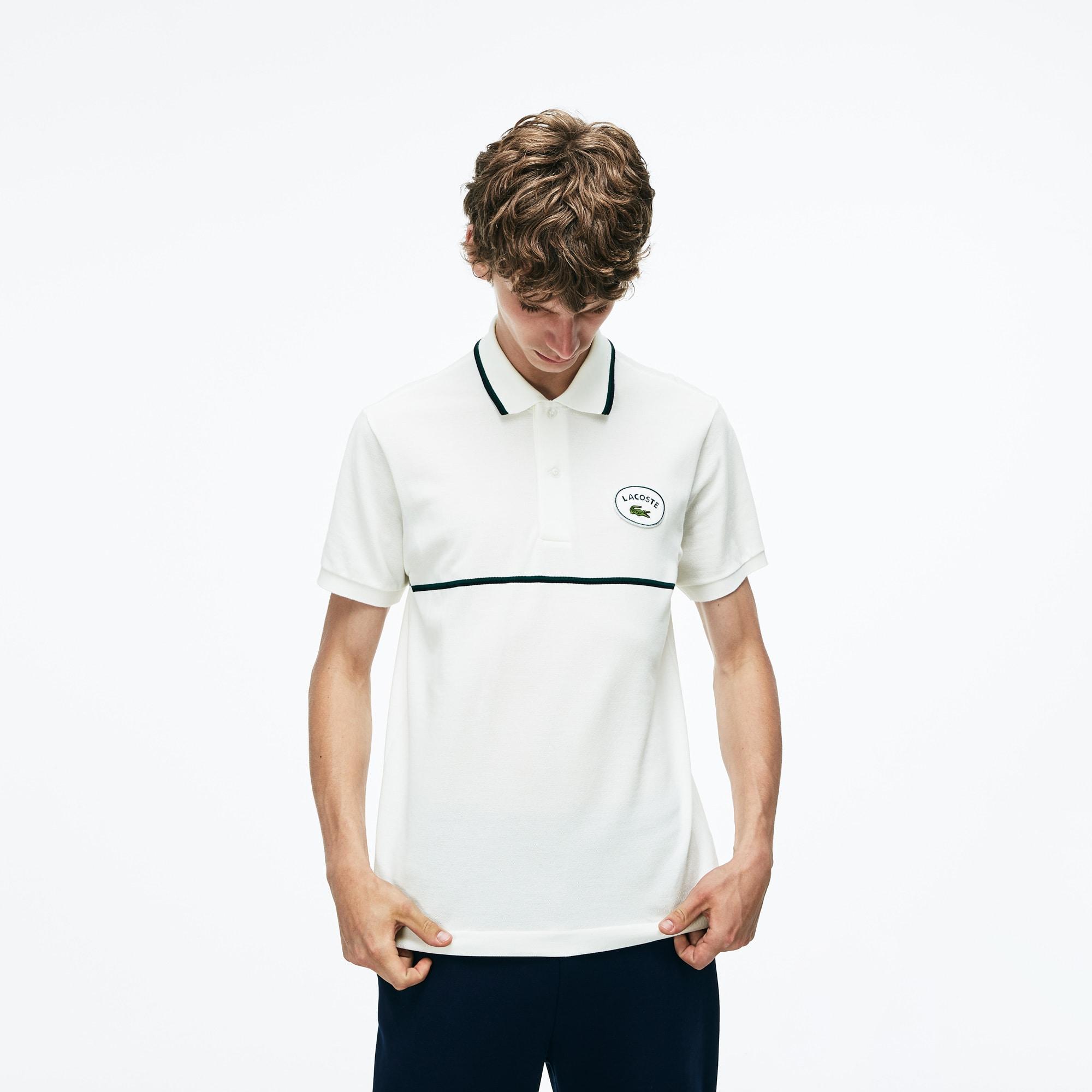 Men's Lacoste Slim Fit Striped Accents Petit Piqué Polo Shirt