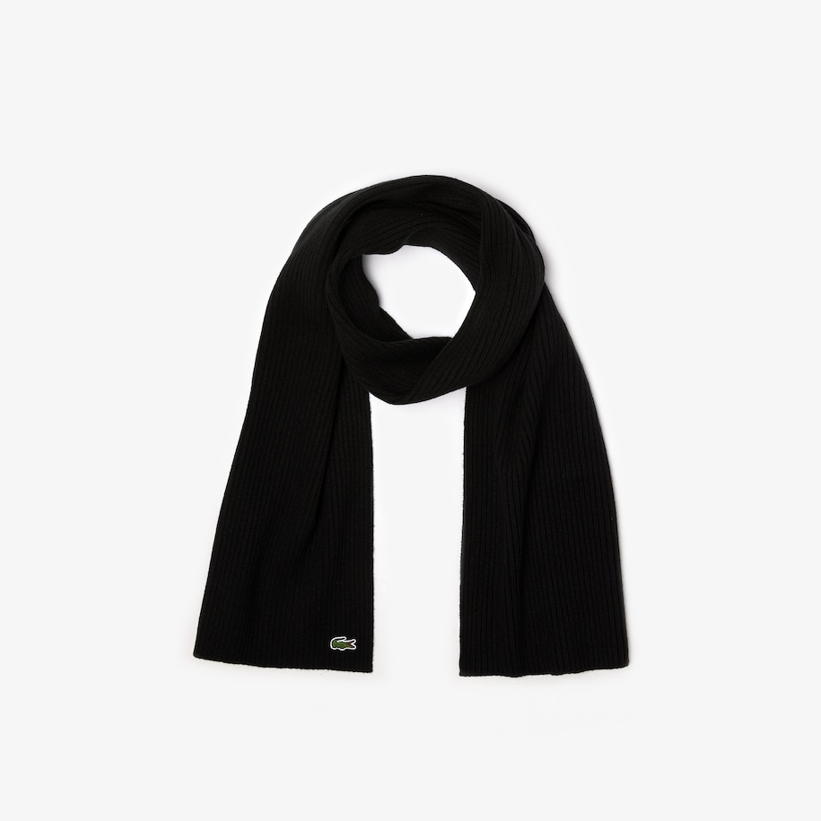 Men's Ribbed Rectangular Wool Scarf
