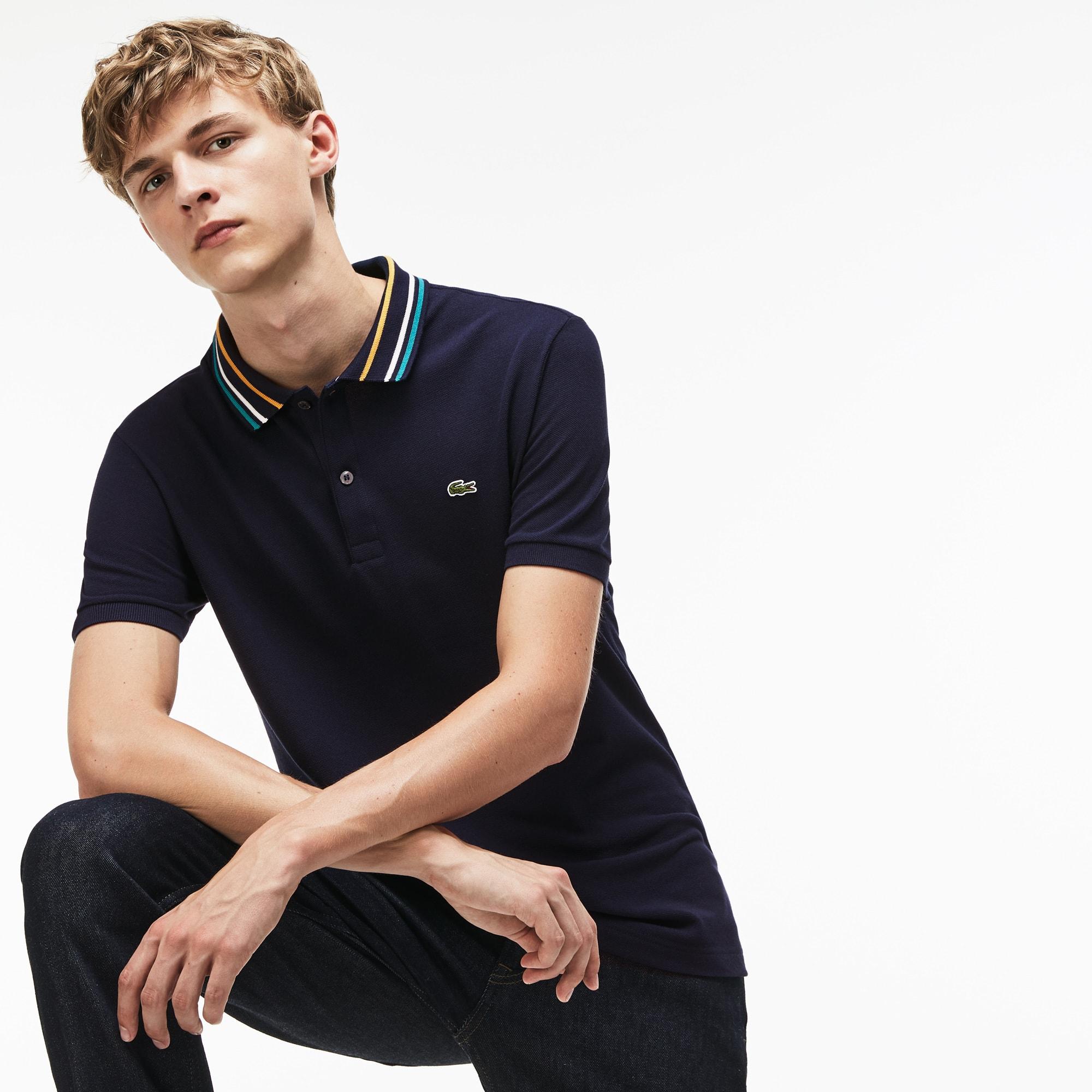 Men's Lacoste Slim Fit Striped Contrast Collar Petit Piqué Polo Shirt