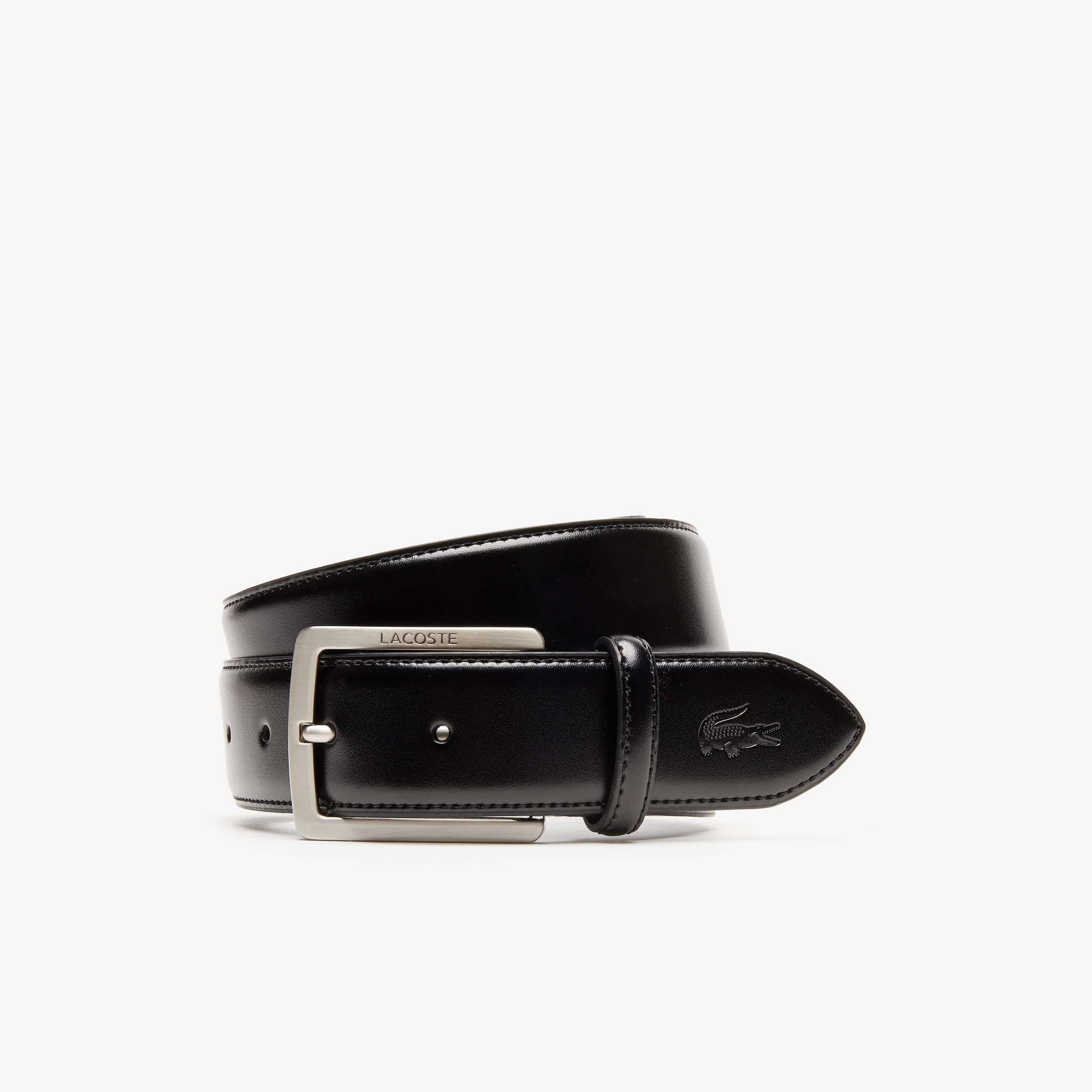 Men's Lacoste Engraved Buckle And Stamped Crocodile Leather Belt