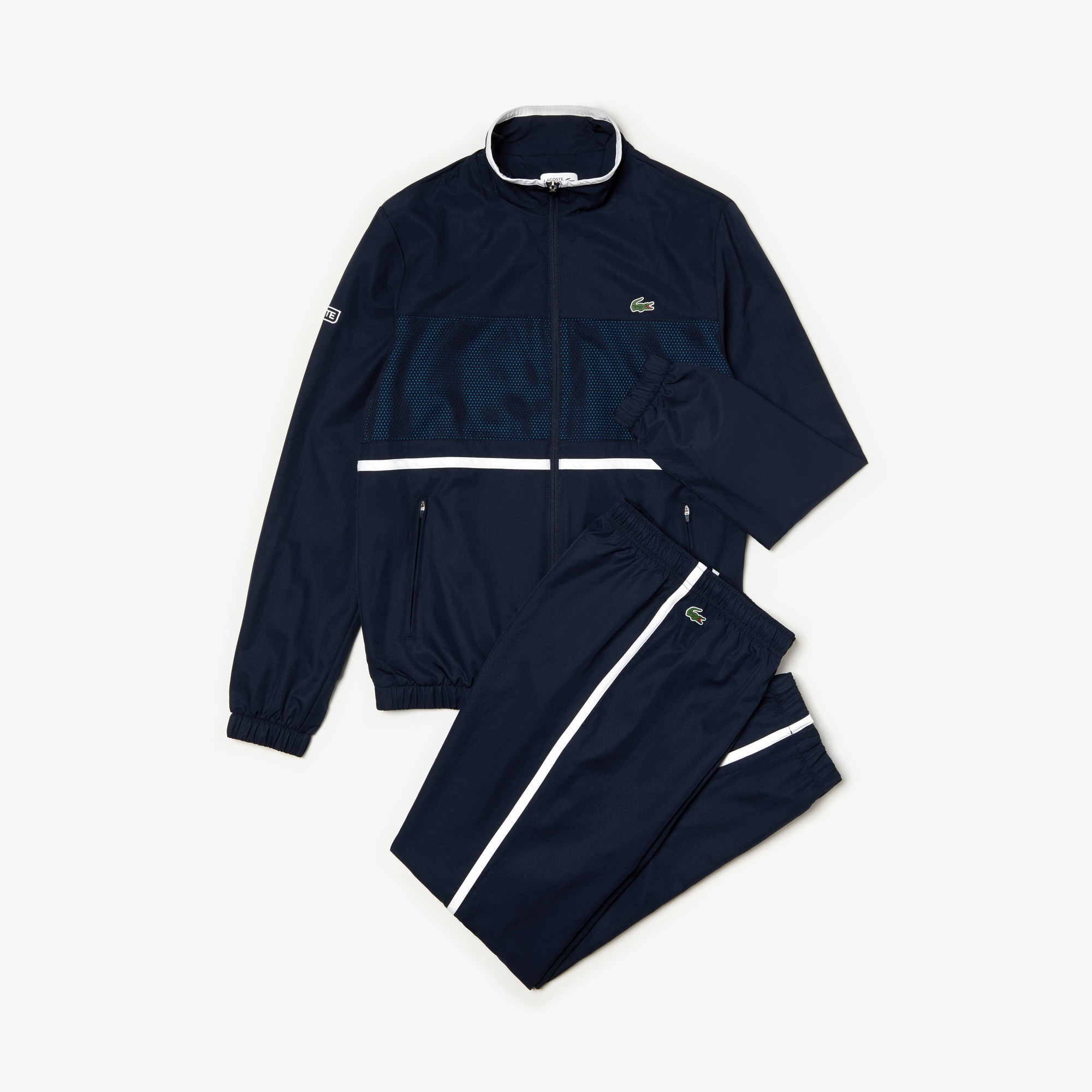 Men's Lacoste SPORT Contrast Bands And Mesh Panel Tennis Sweatsuit