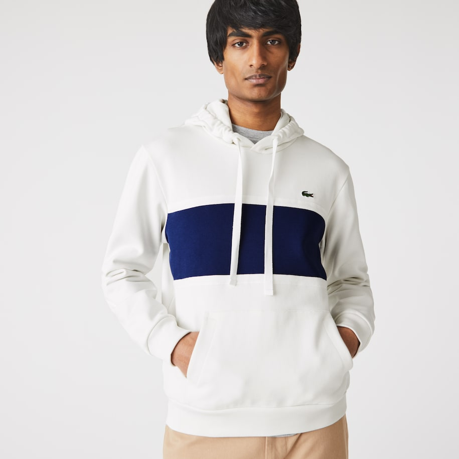 Men's Piqué Panel Bimaterial Hooded Sweatshirt