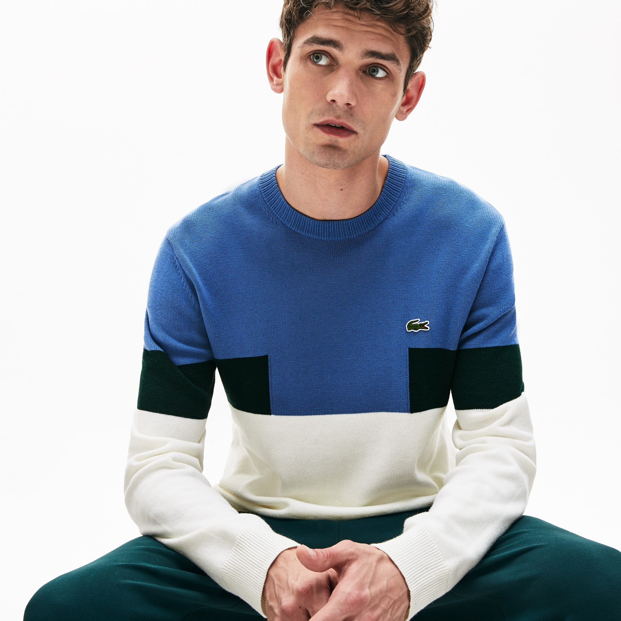 85893f3f64 Men's Crew Neck Colourblock Wool And Cotton Blend Sweater | LACOSTE