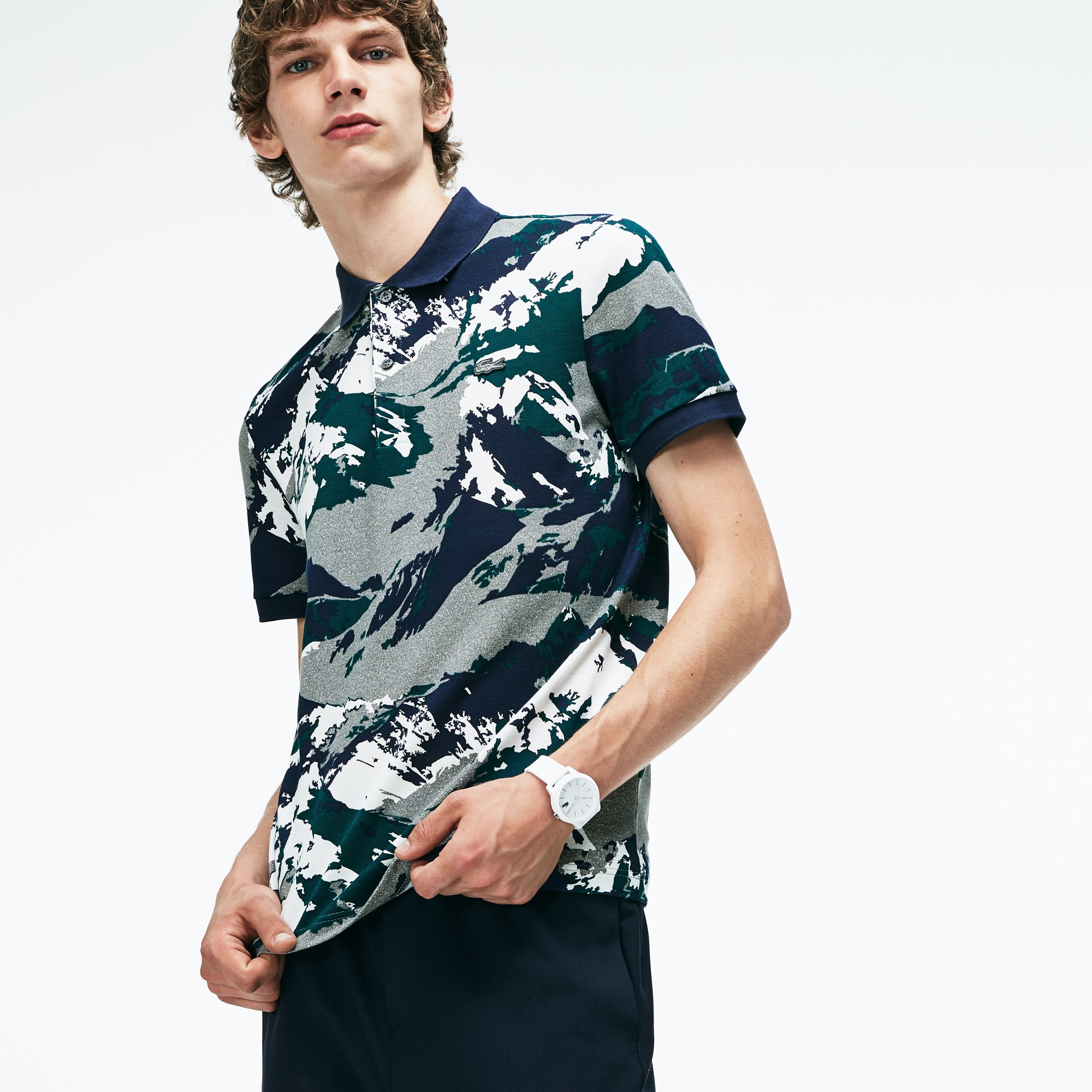Men's Lacoste Regular Fit Alpine Print Mini Piqué Polo