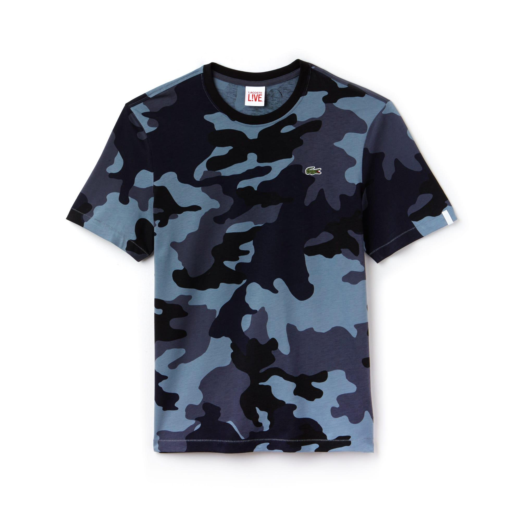 Men's Lacoste LIVE Crew Neck Camouflage Print Jersey T-shirt