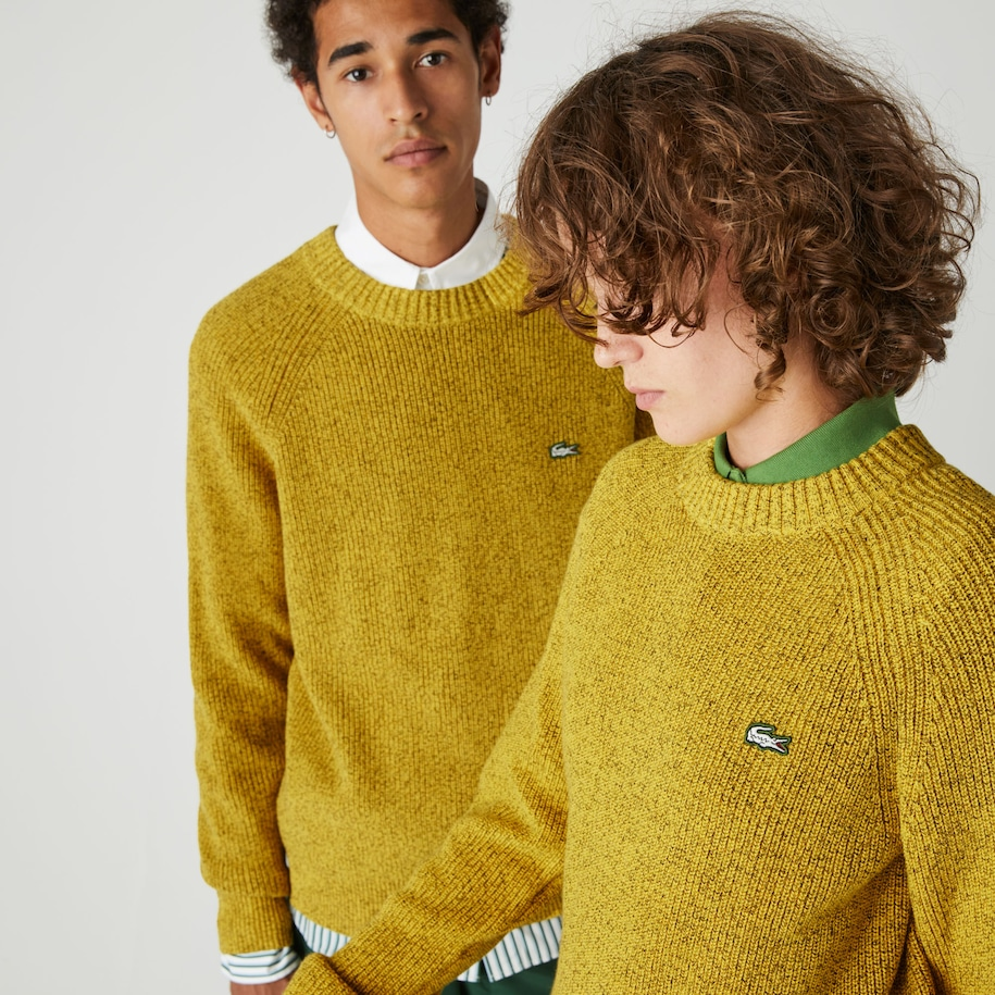 Unisex Lacoste LIVE Flecked Ribbed Cotton Crew Neck Sweater