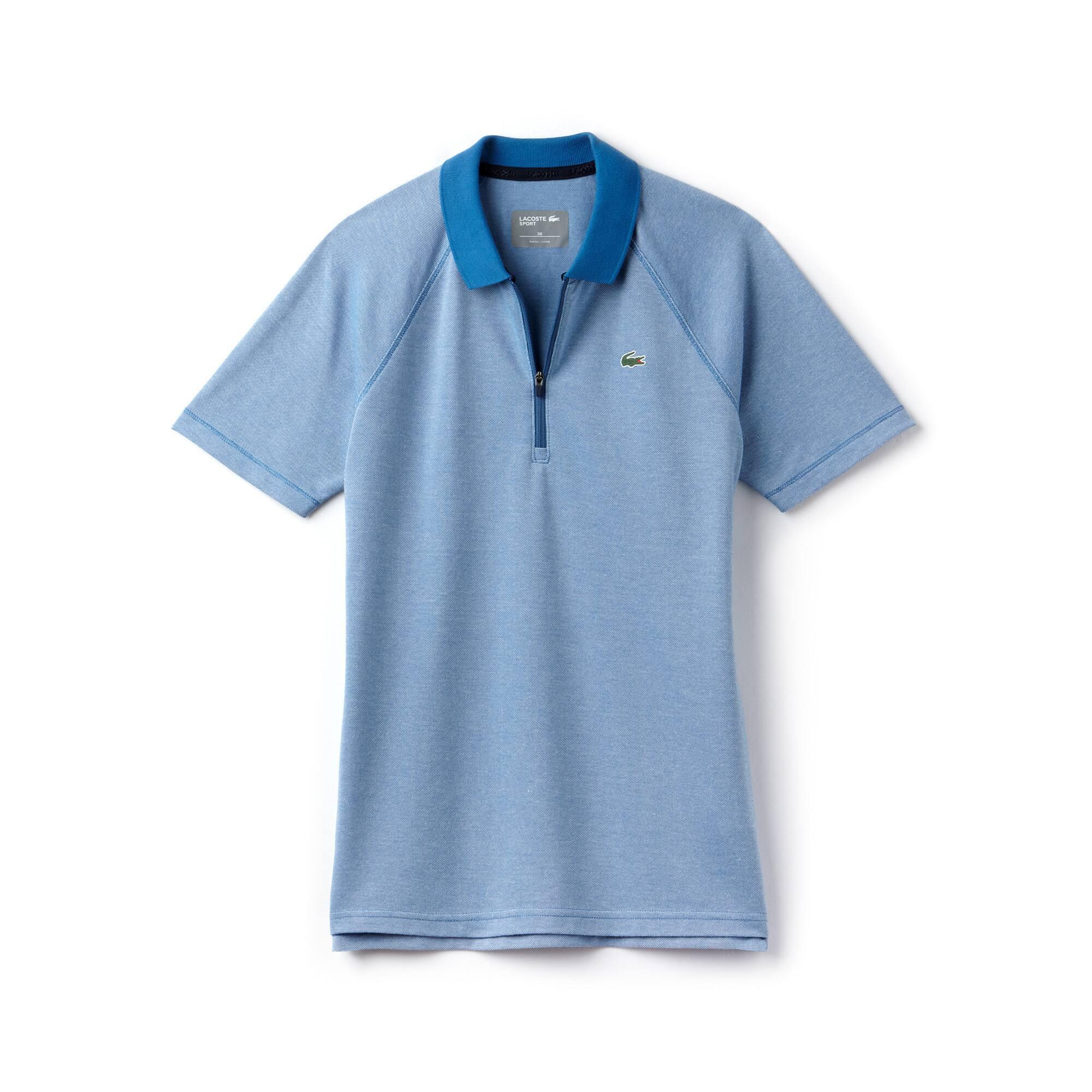 Women's Lacoste SPORT Zip Neck Technical Jersey Golf Polo