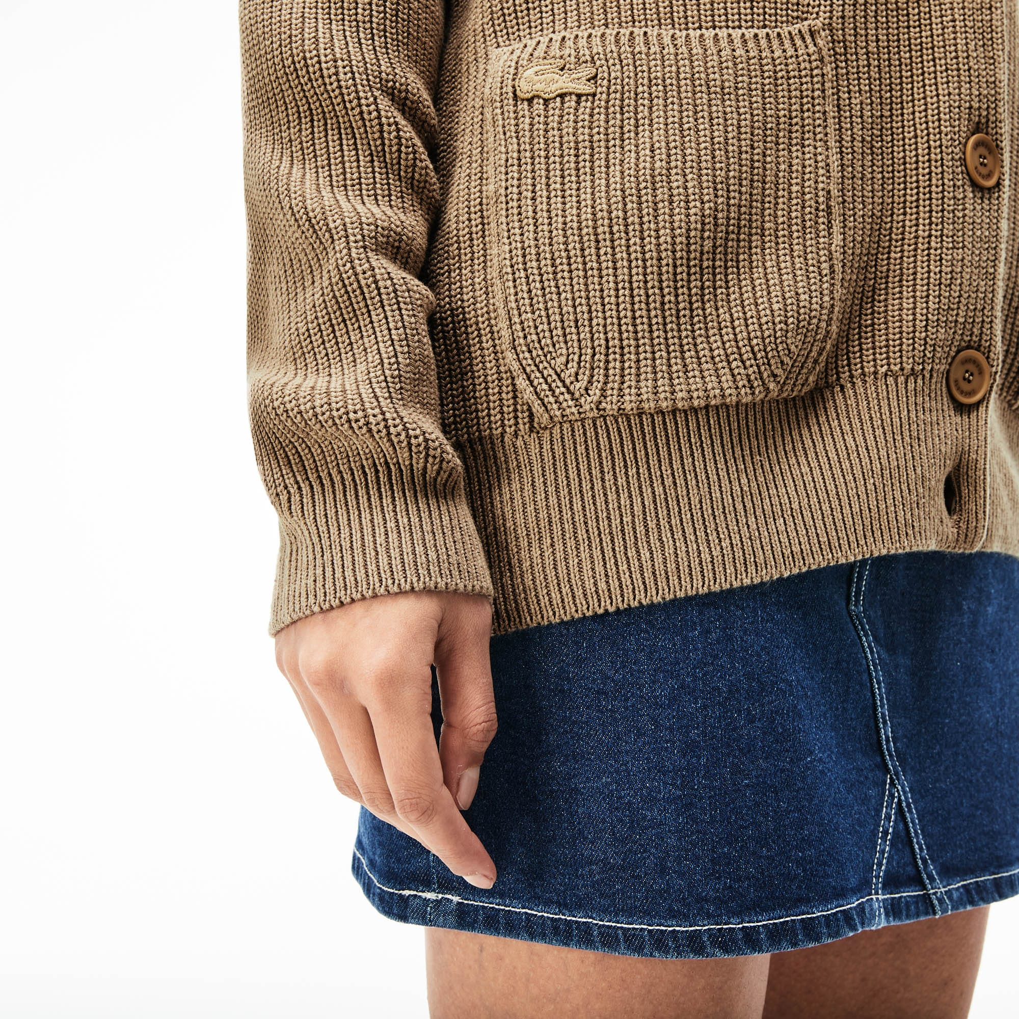 Women's Pockets Ribbed Cotton And Linen Cardigan