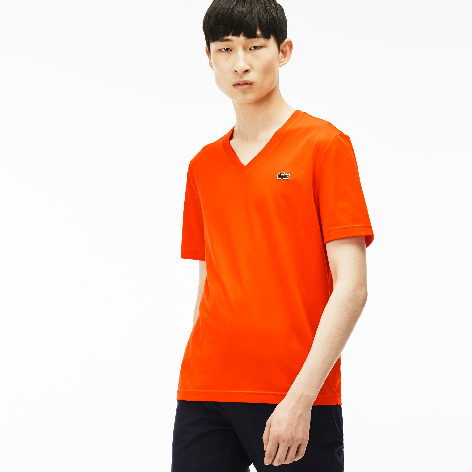 Men's Ultra-slim fit V-neck Lacoste LIVE T-shirt in jersey