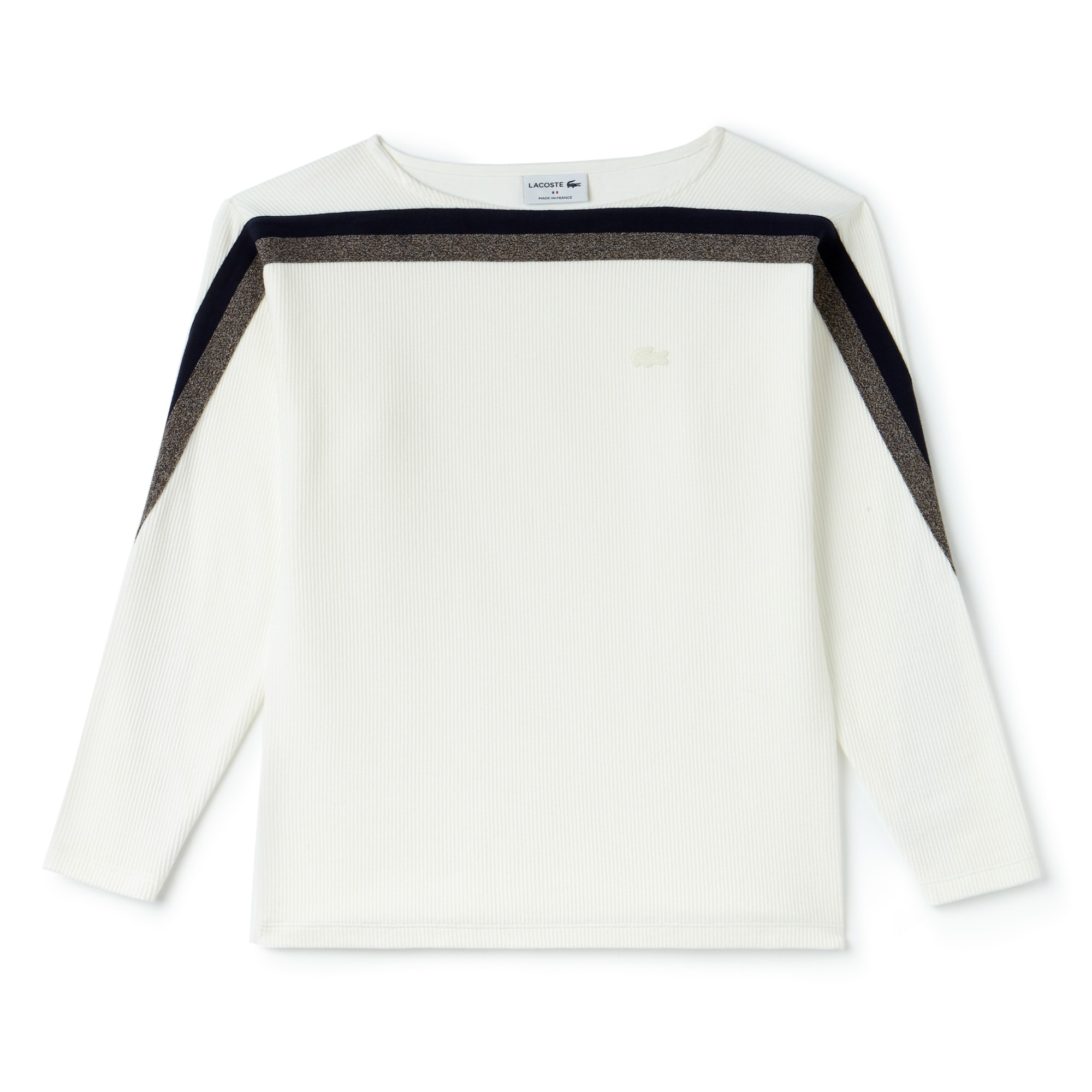 Women's Made In France Boat Neck Contrast Band Cotton Sweatshirt