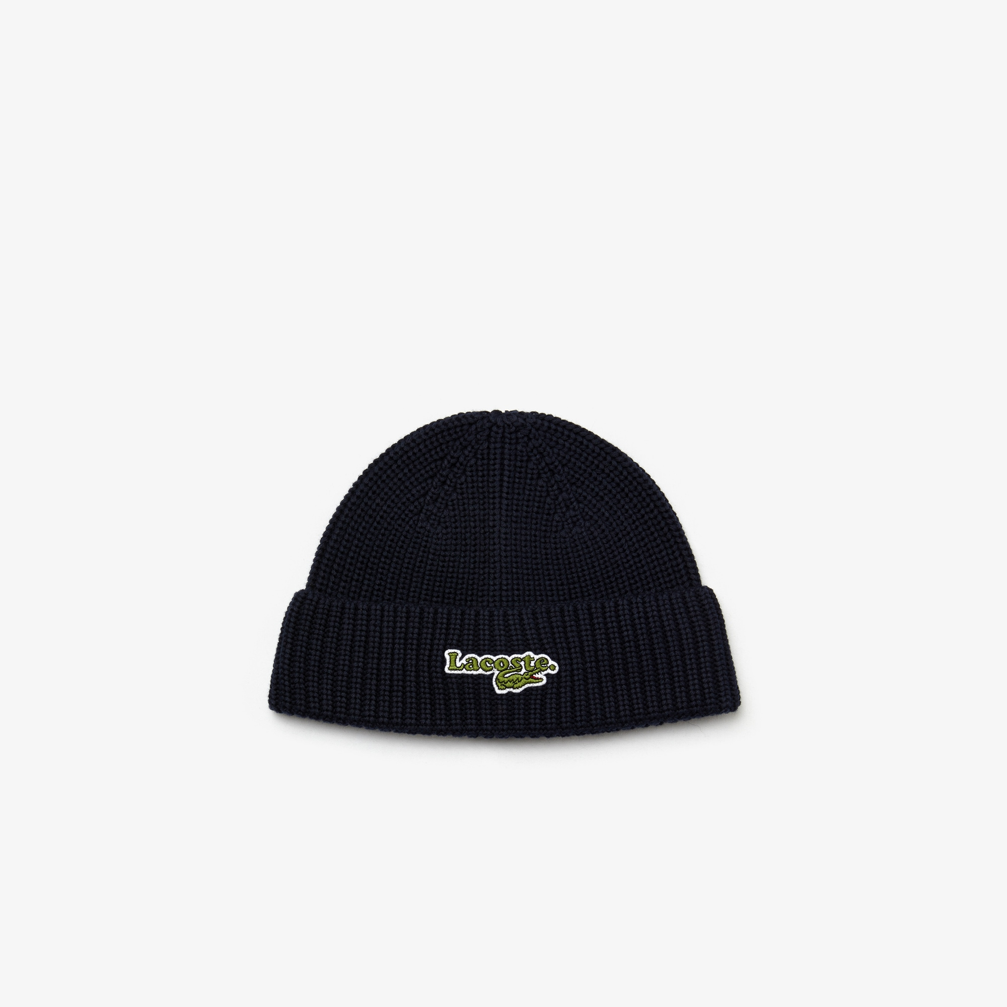 Boys' Lacoste Badge Cotton And Wool Beanie