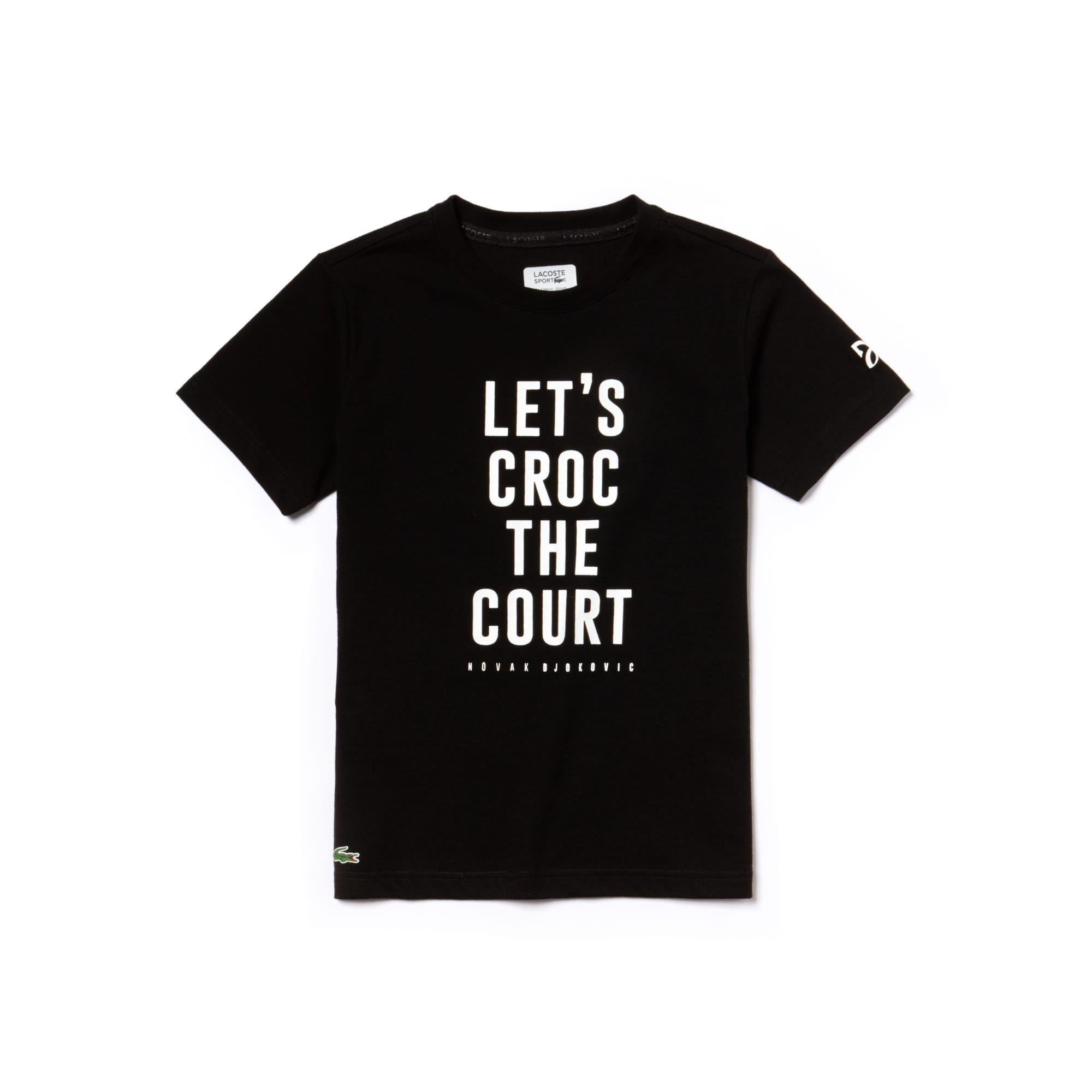 Boys' Lacoste SPORT NOVAK DJOKOVIC SUPPORT WITH STYLE - OFF COURT COLLECTION Lettering Technical Jersey T-shirt