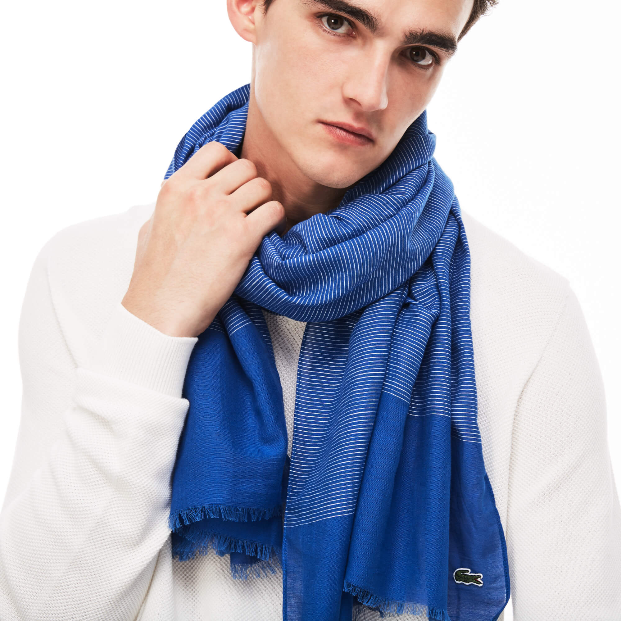 Men's Striped Cotton And Linen Voile Scarf