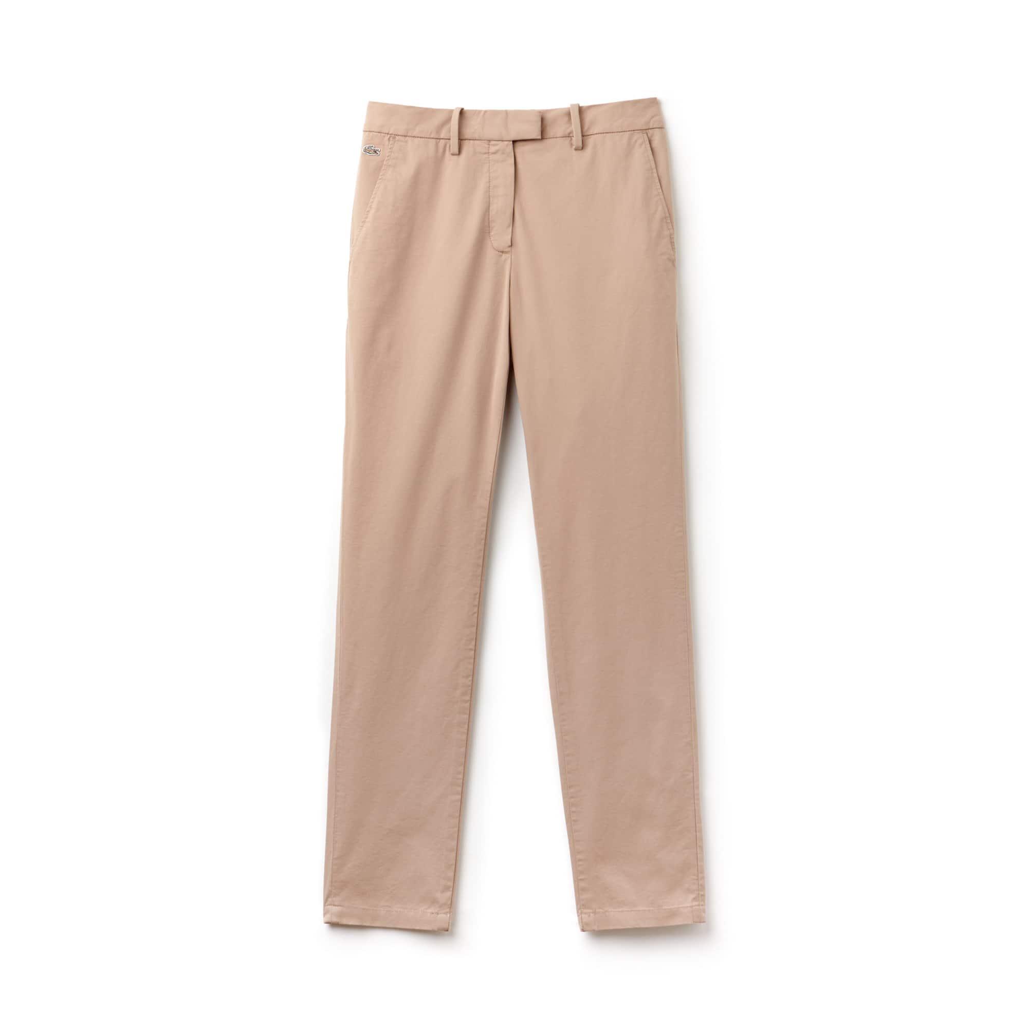 Women's Regular Fit Stretch Gabardine Pleated Chino Pants