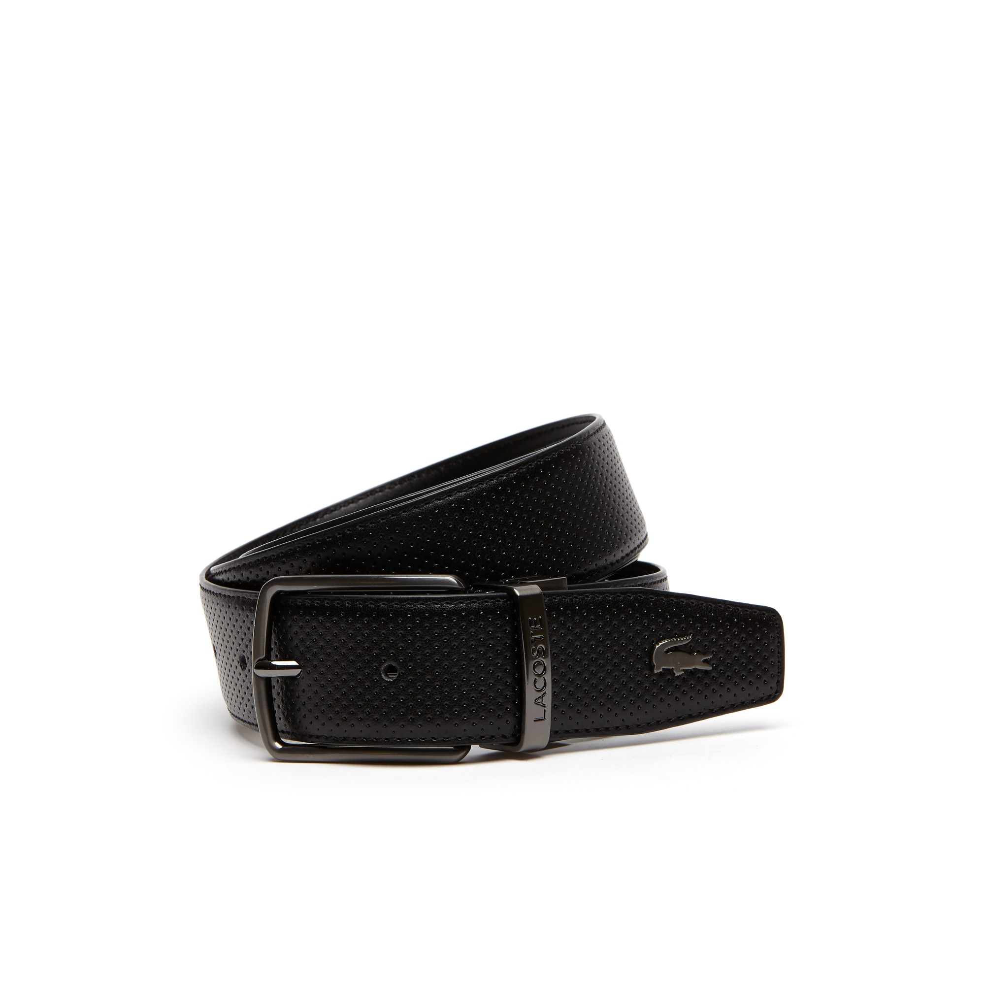 Men's Lacoste Engraved Buckle Reversible Punched Leather Belt