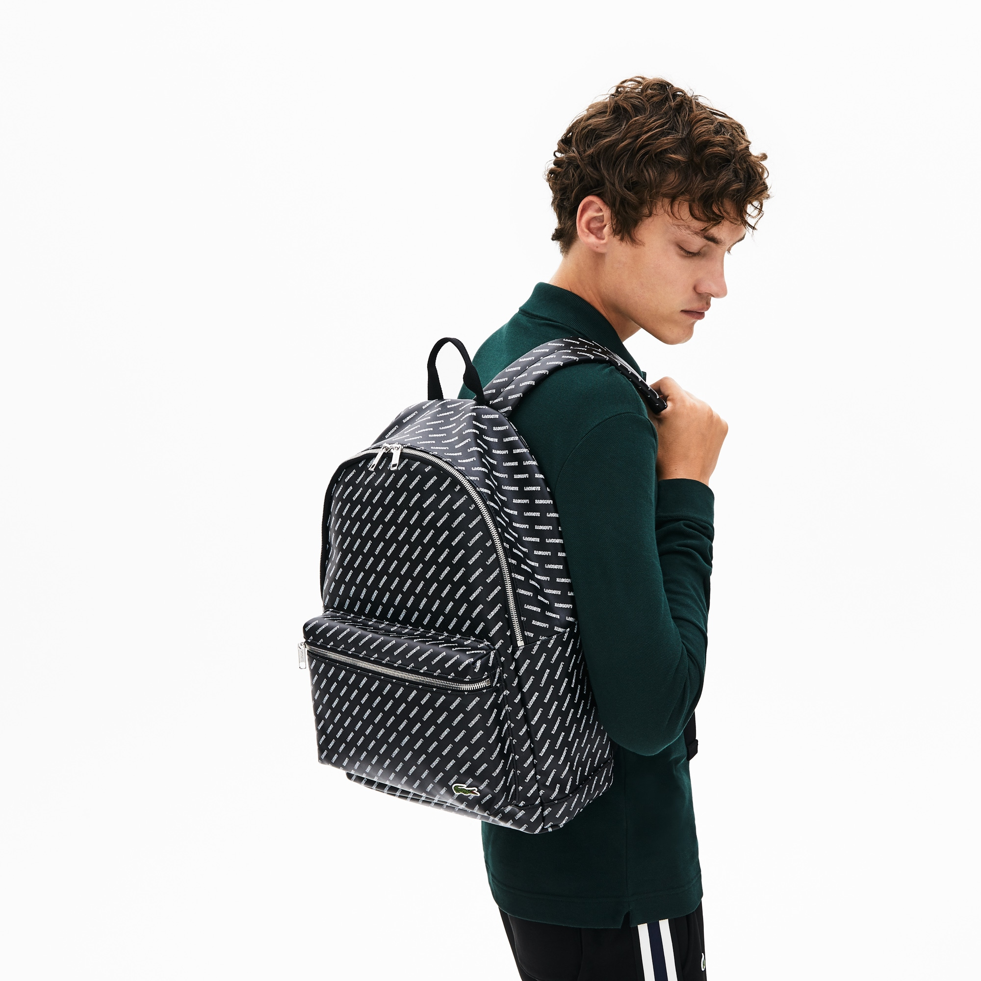 Men's Lacoste LIVE Coated Print Canvas Backpack