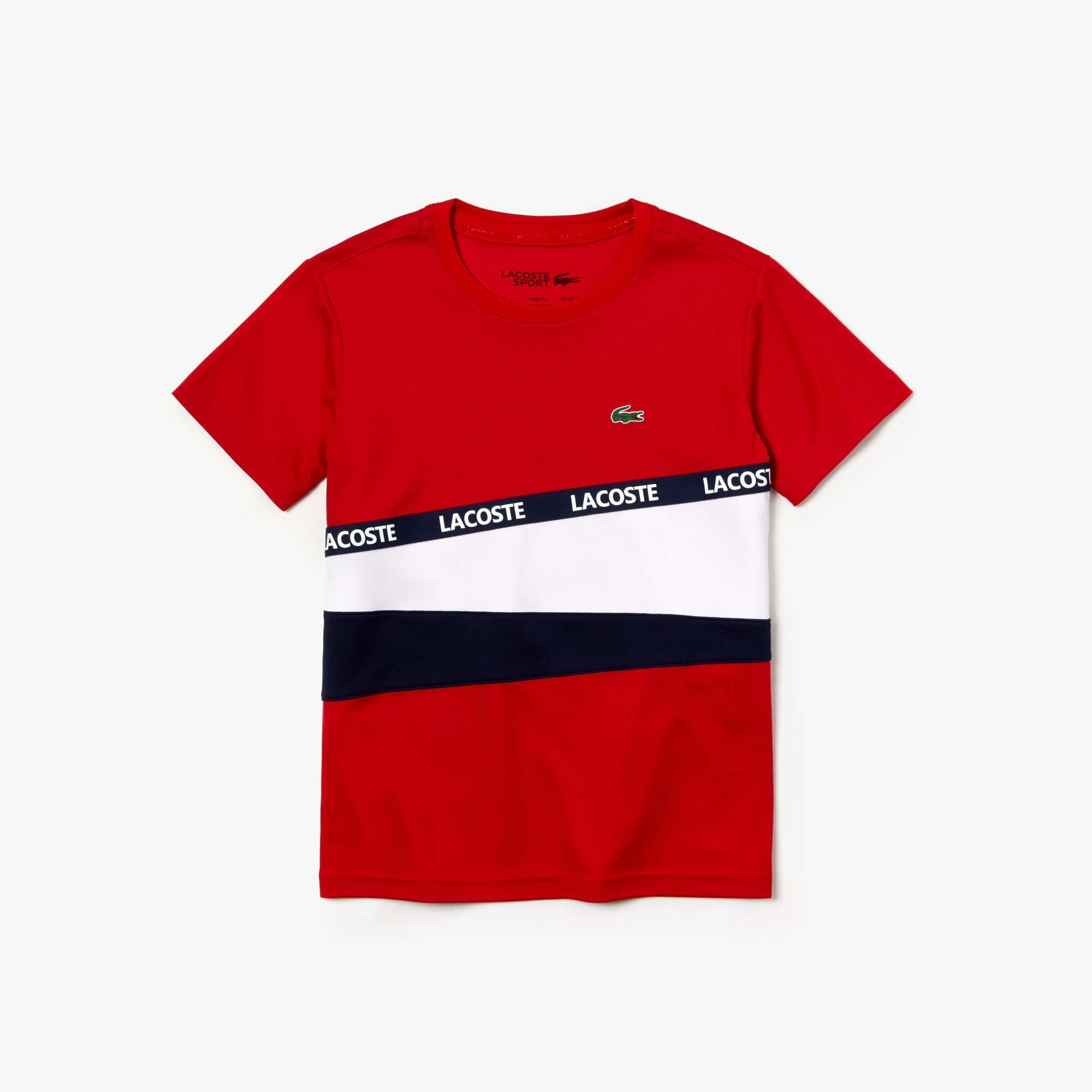 Boys' Lacoste SPORT Signature Band Colourblock Piqué T-shirt