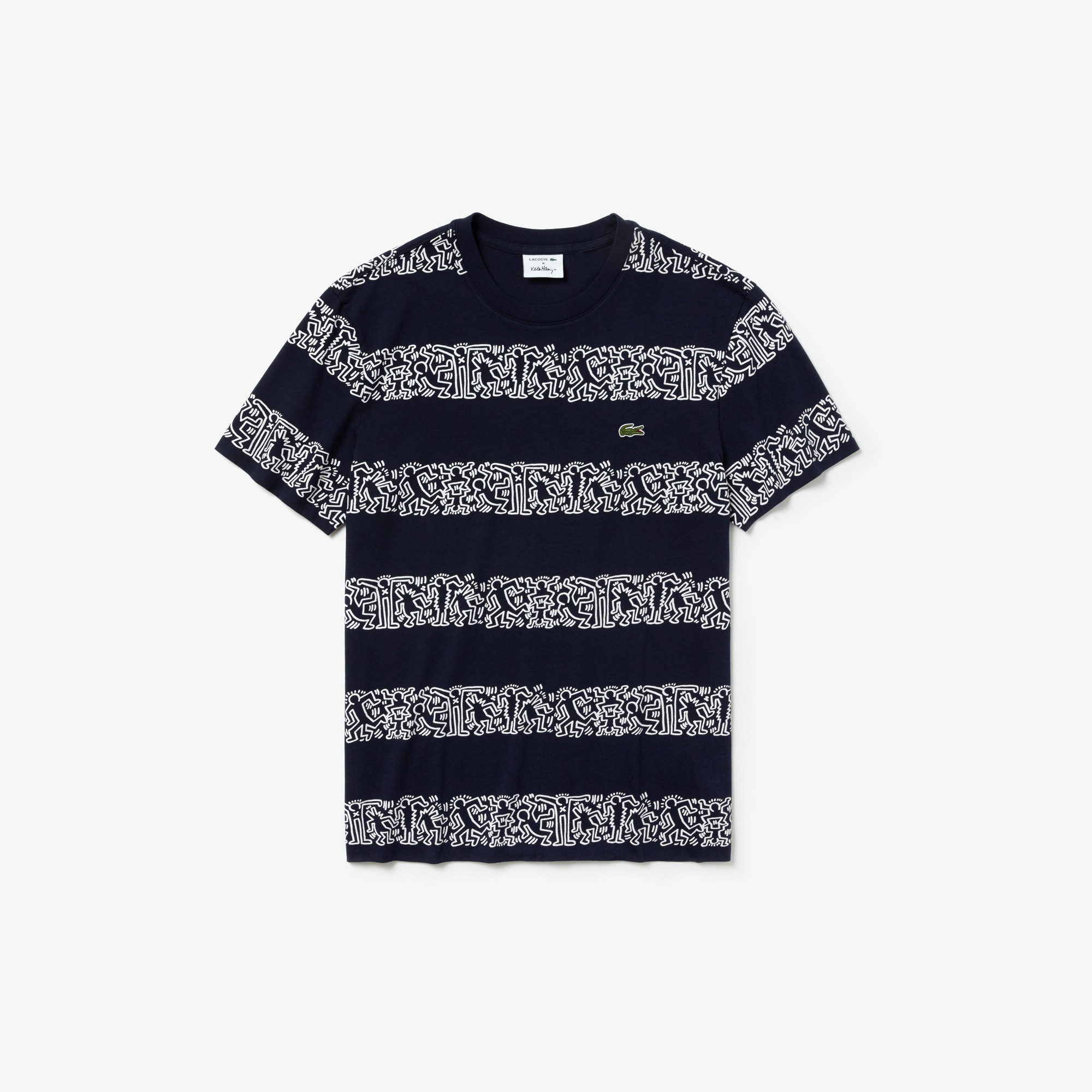 f7a10605c Men's Keith Haring Striped Print Crew Neck Cotton T-shirt | LACOSTE