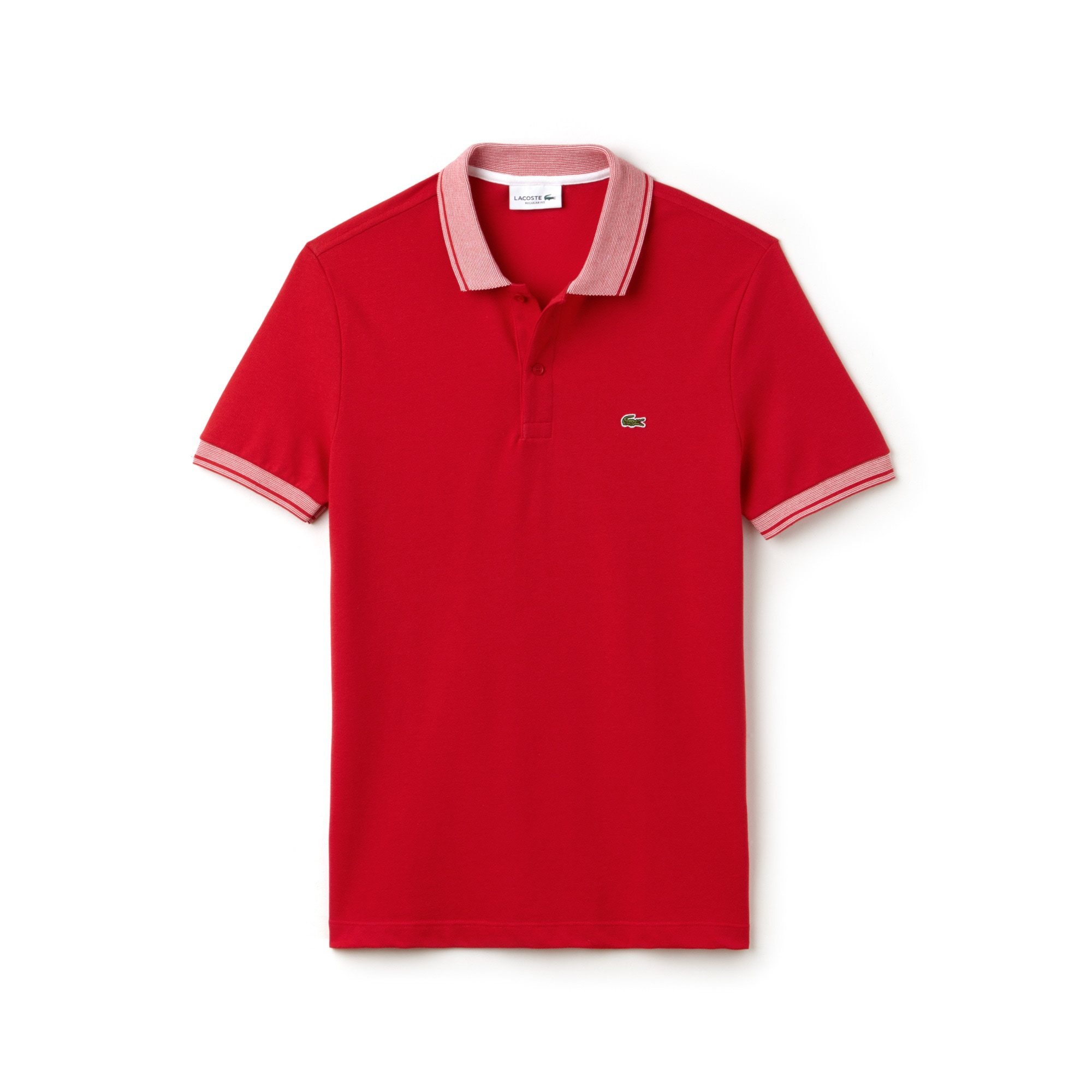 Men's Lacoste Regular Fit Piped Cotton Petit Piqué Polo Shirt