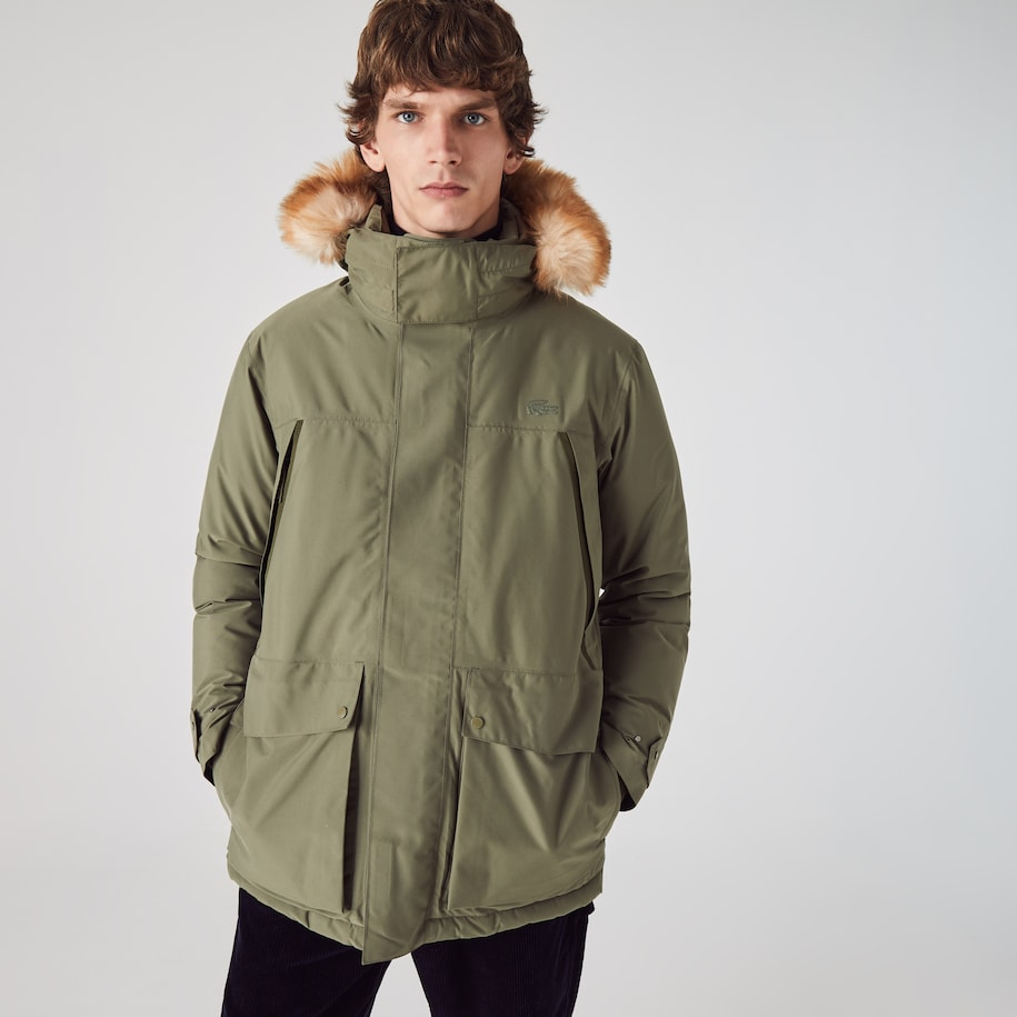 Men's Long Water-Resistant Quilted Hooded Parka