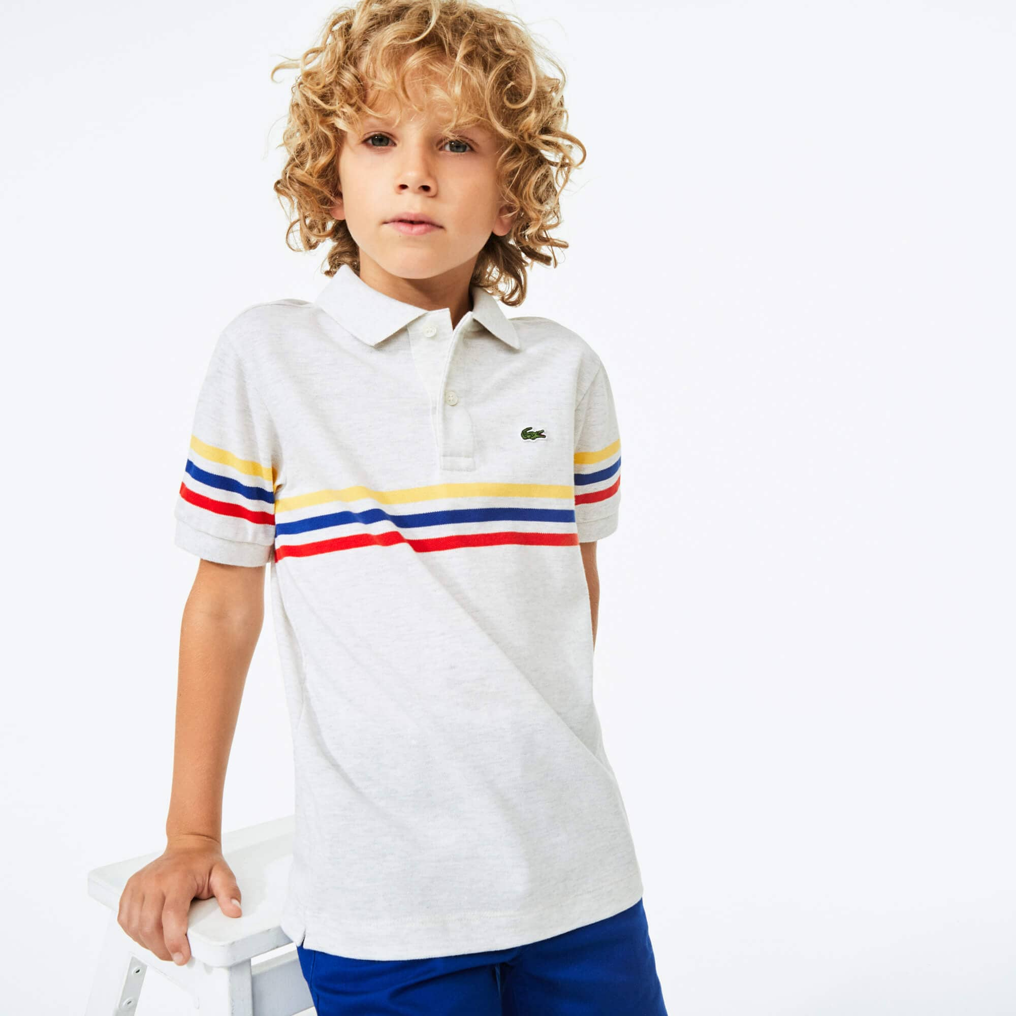 Lacoste Boy/'s Striped Cotton Polo Shirt