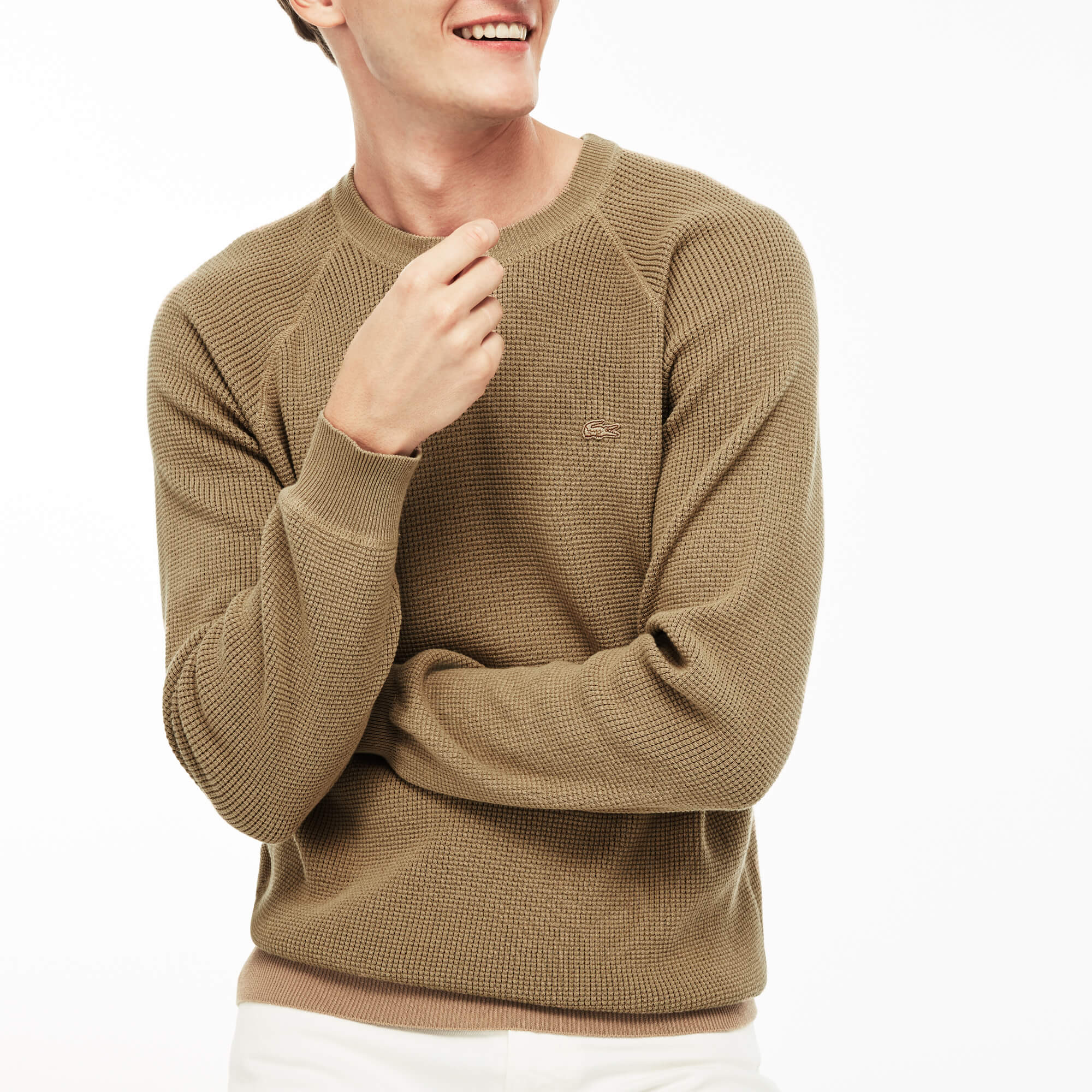 Men's Crew Neck Honeycomb Cotton Crepe Sweater