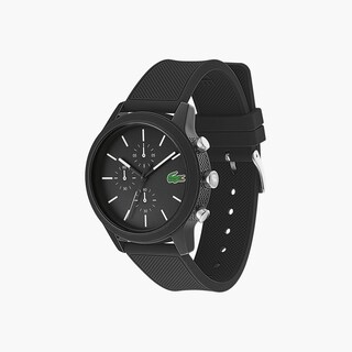 Men's Lacoste 12.12 Chronograph Watch with Black Silicone Strap