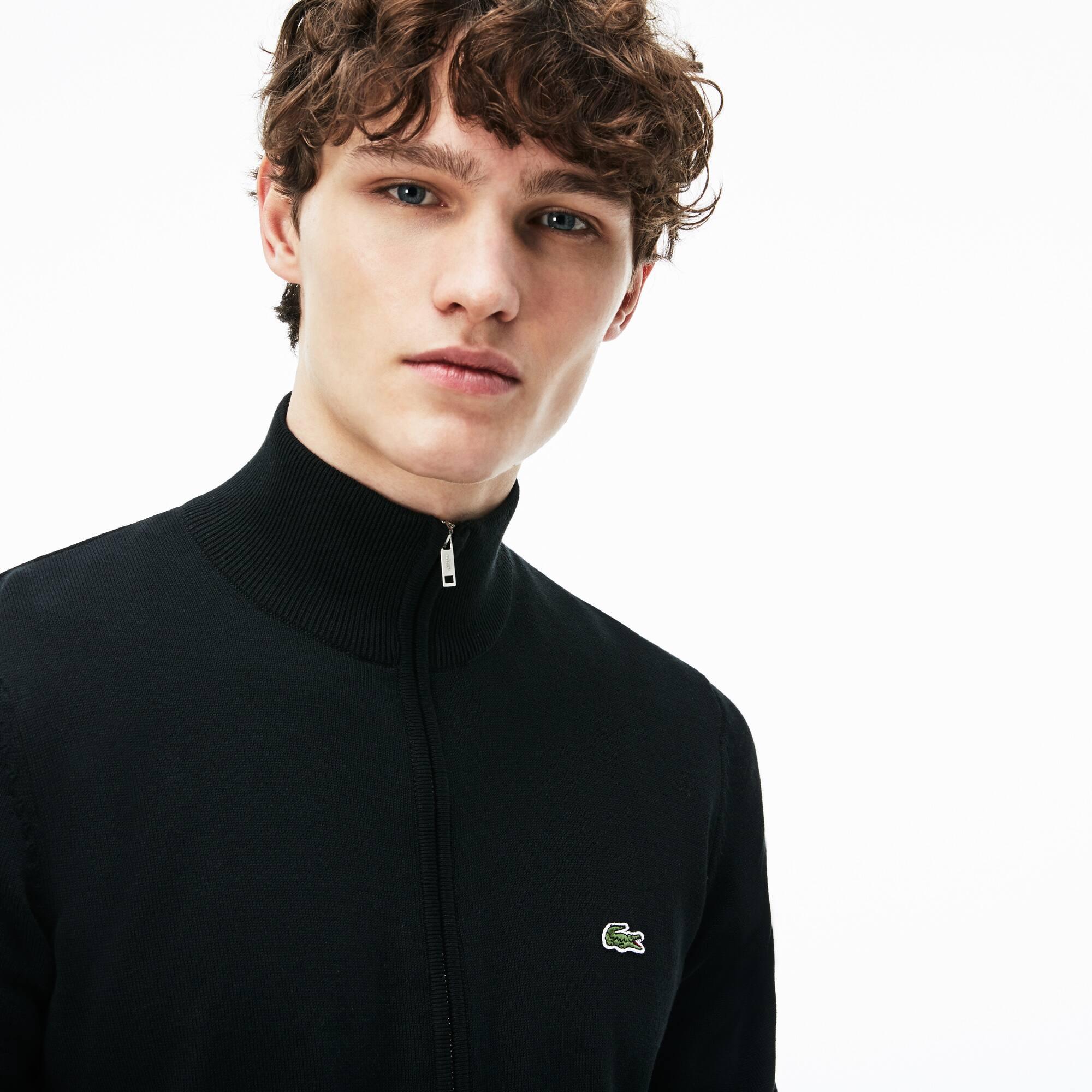 Men's Zip Stand-Up Collar Cotton Jersey Cardigan