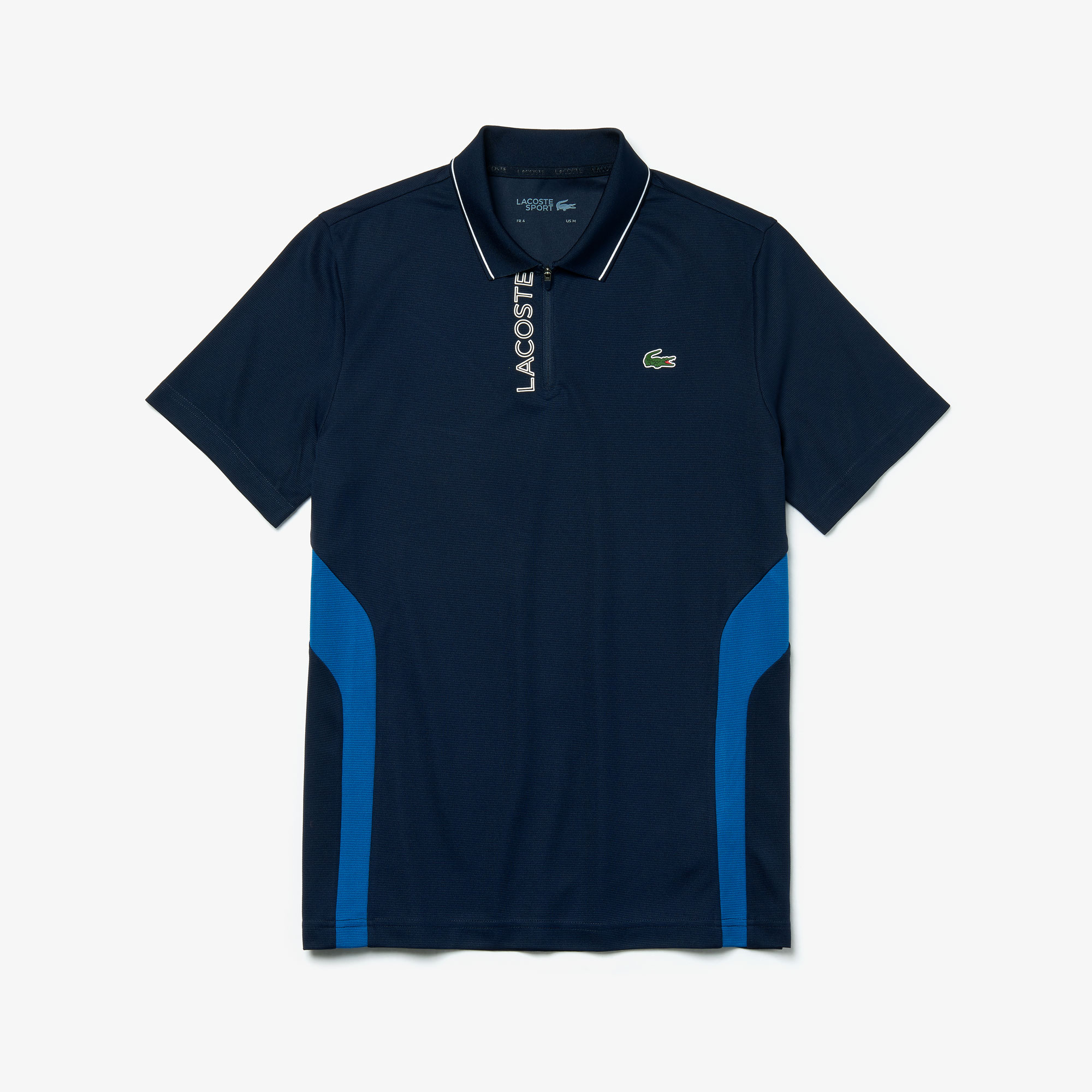 Men's Lacoste SPORT Two-Tone Breathable Knit Zippered Golf Polo Shirt