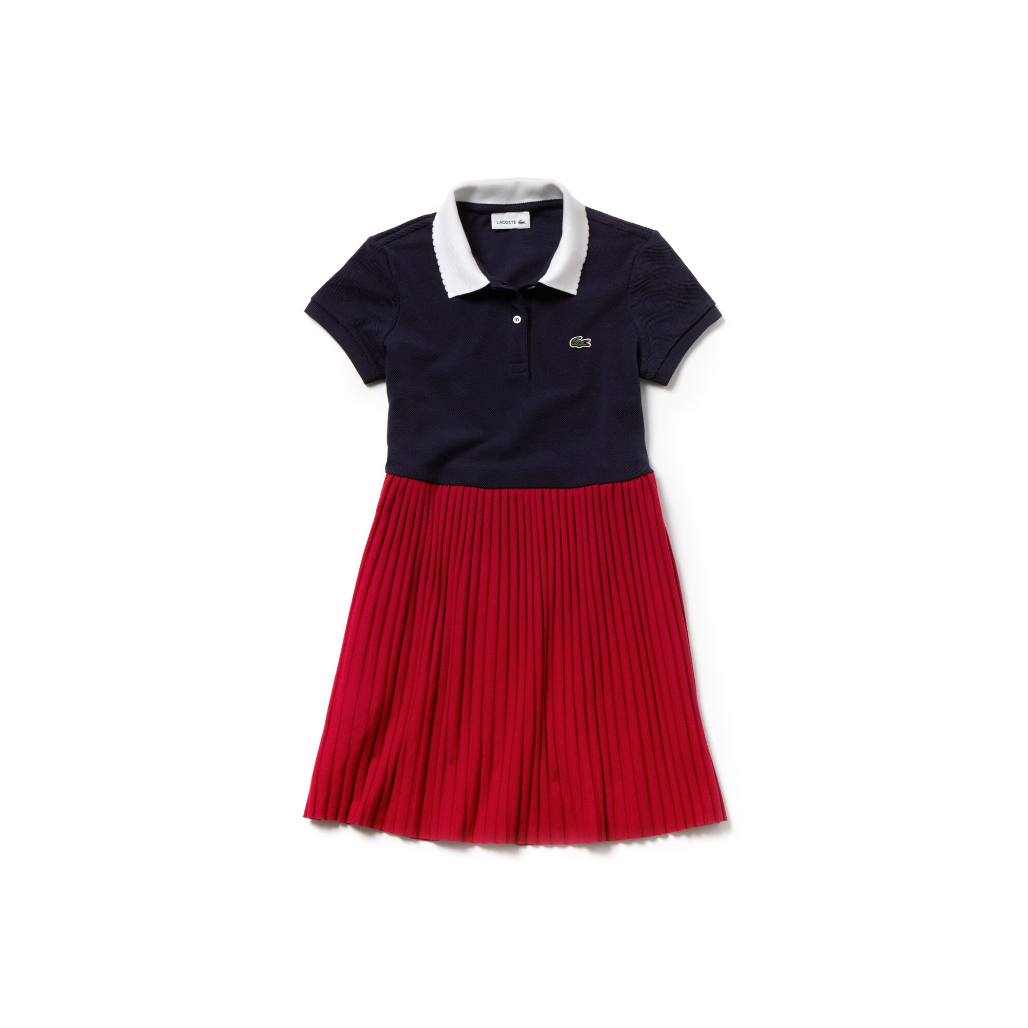 Girls' Flared Bicolor Ribbed Polo Dress