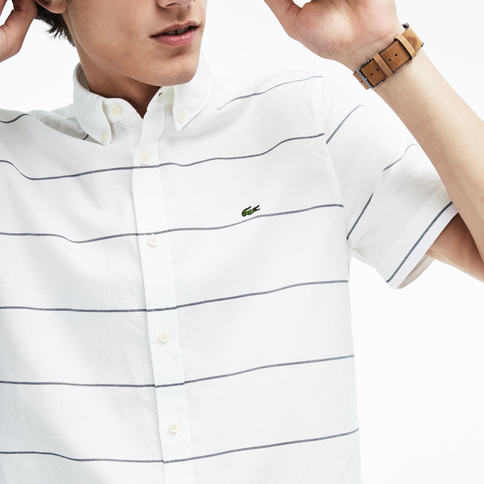 c6368a6ab9 Men's Slim Fit Striped Cotton And Linen Short Sleeves Shirt | LACOSTE