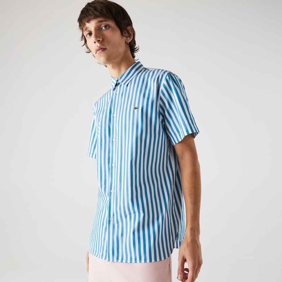 Men's Regular Fit Short-Sleeved Striped Poplin Shirt