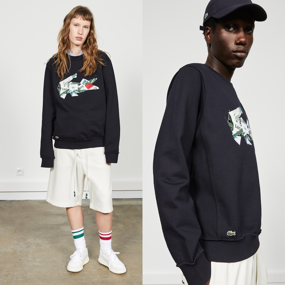 Lacoste x Lemarié embroidered fleece sweatshirt