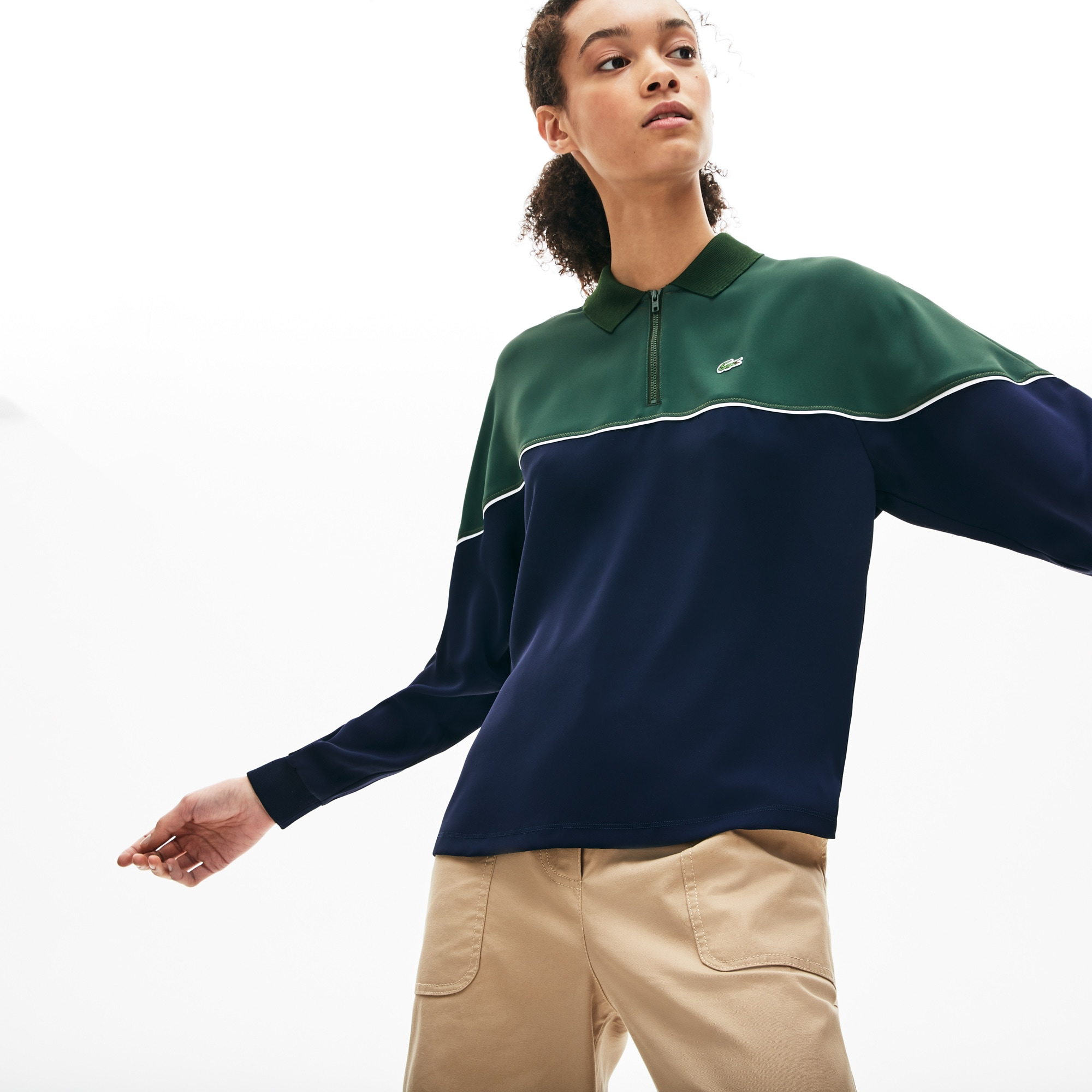 Women's Lacoste Relaxed Fit Zip Neck Colourblock Polo Shirt