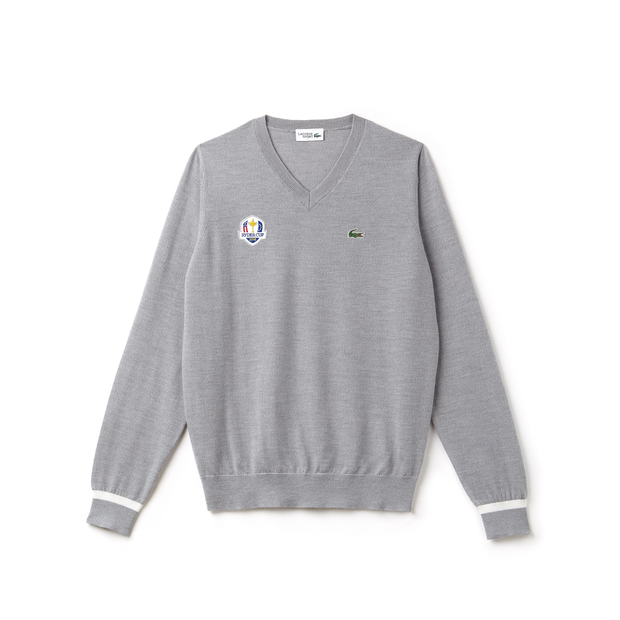 Men's Lacoste SPORT Ryder Cup Edition V-neck Wool Jersey Golf Sweater