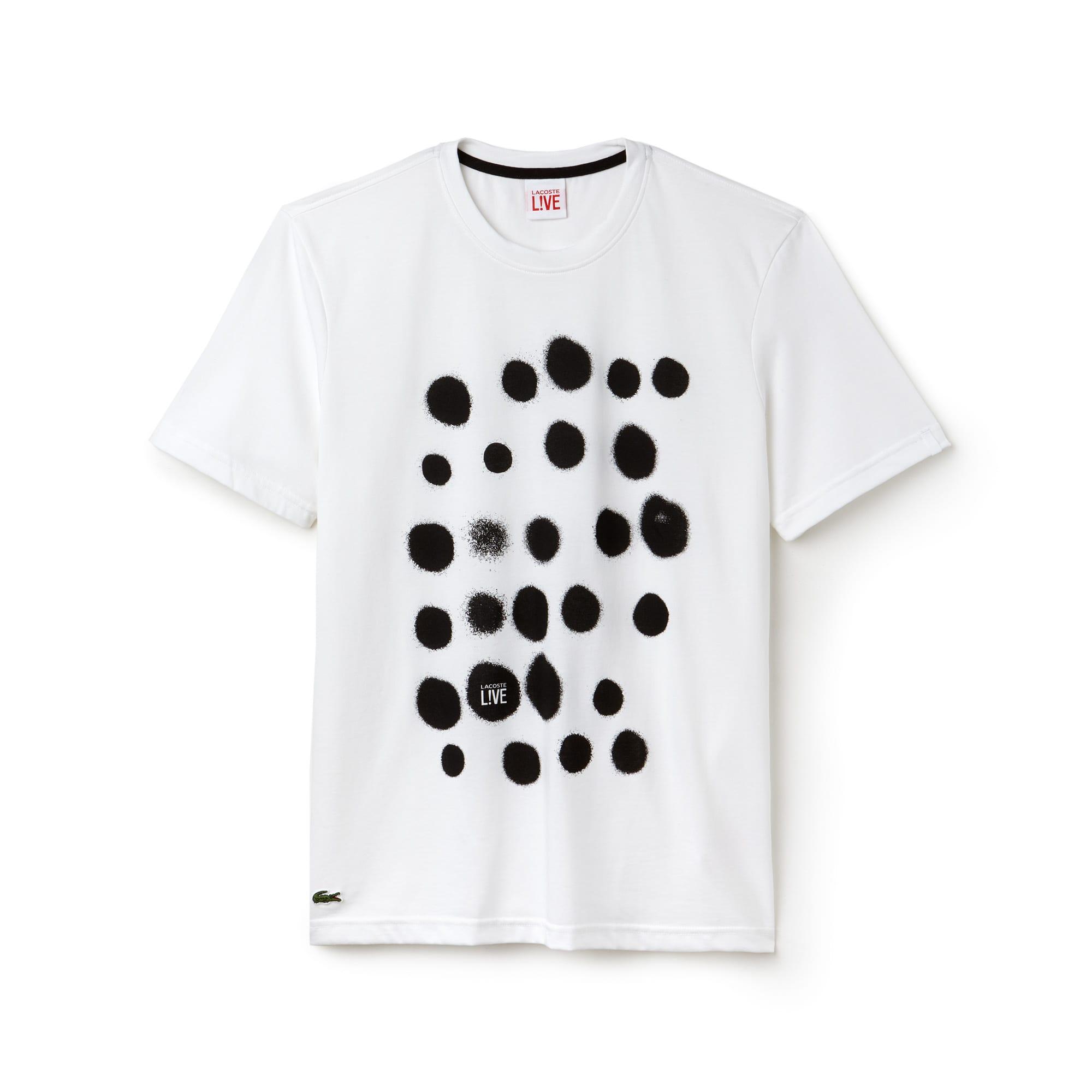 Men's Lacoste LIVE Crew Neck Spray Paint Print Jersey T-shirt