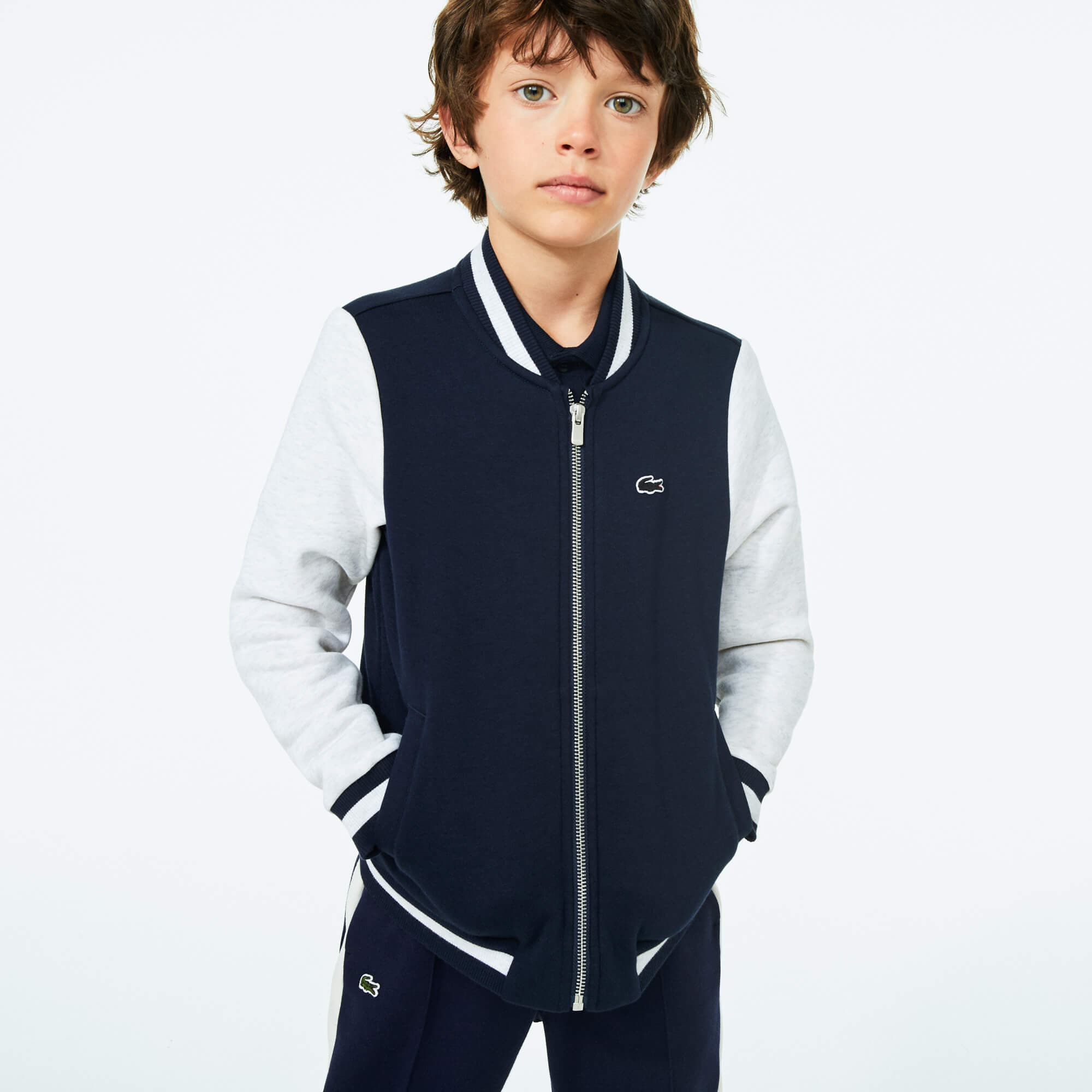 Boy's Bicolour Fleece Varsity Jacket