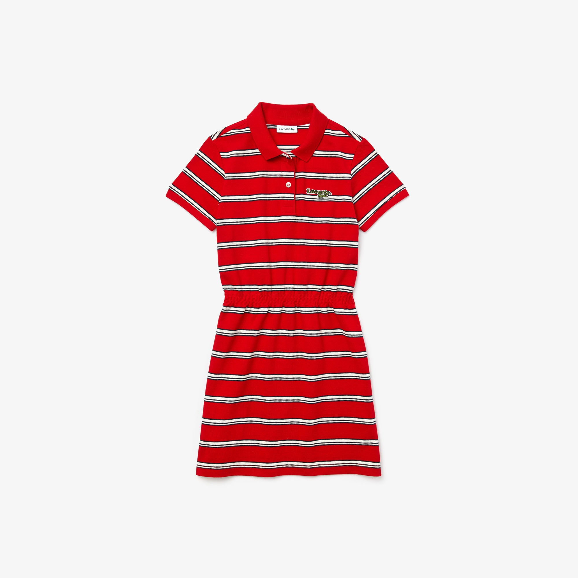Girls' Striped Cotton Piqué Polo Dress