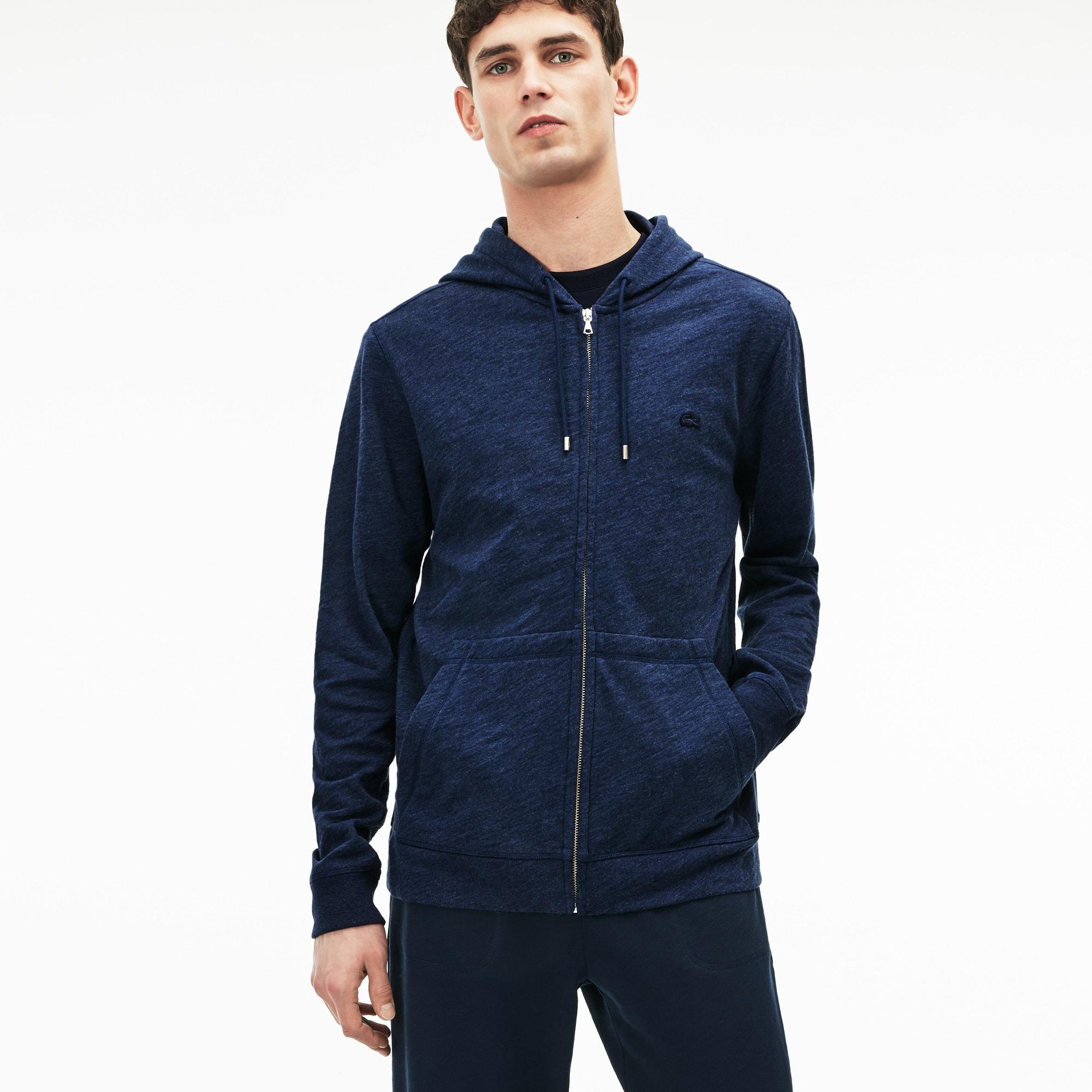 Men's Lacoste MOTION Hooded Cotton Fleece Zip Sweatshirt