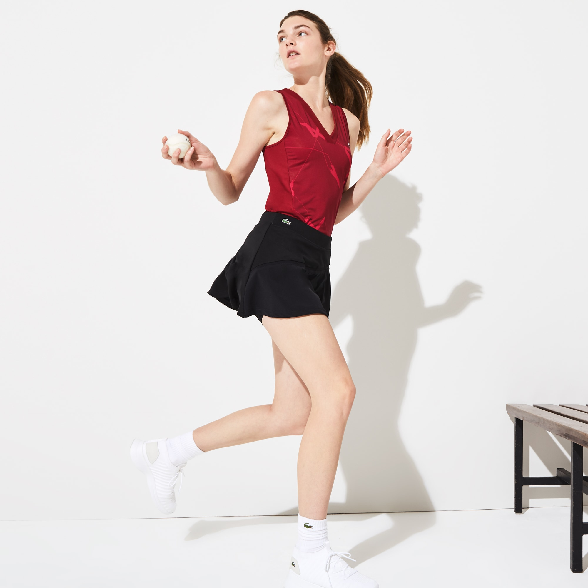 Women's Lacoste SPORT Built-In Shorts Bi-Material Tennis Skirt