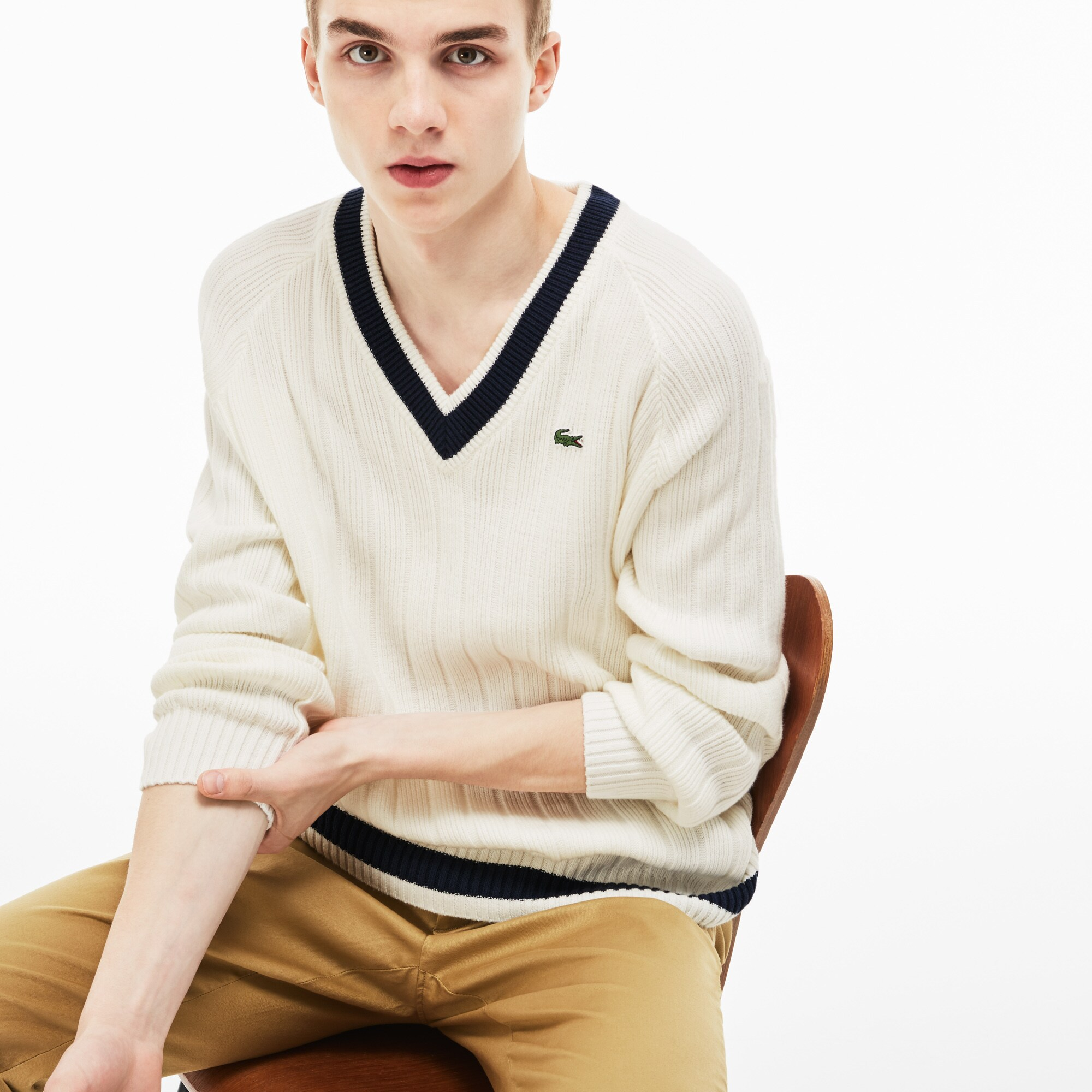 Men's Lacoste LIVE V-Neck Contrast Bands Ribbed Cotton Sweater