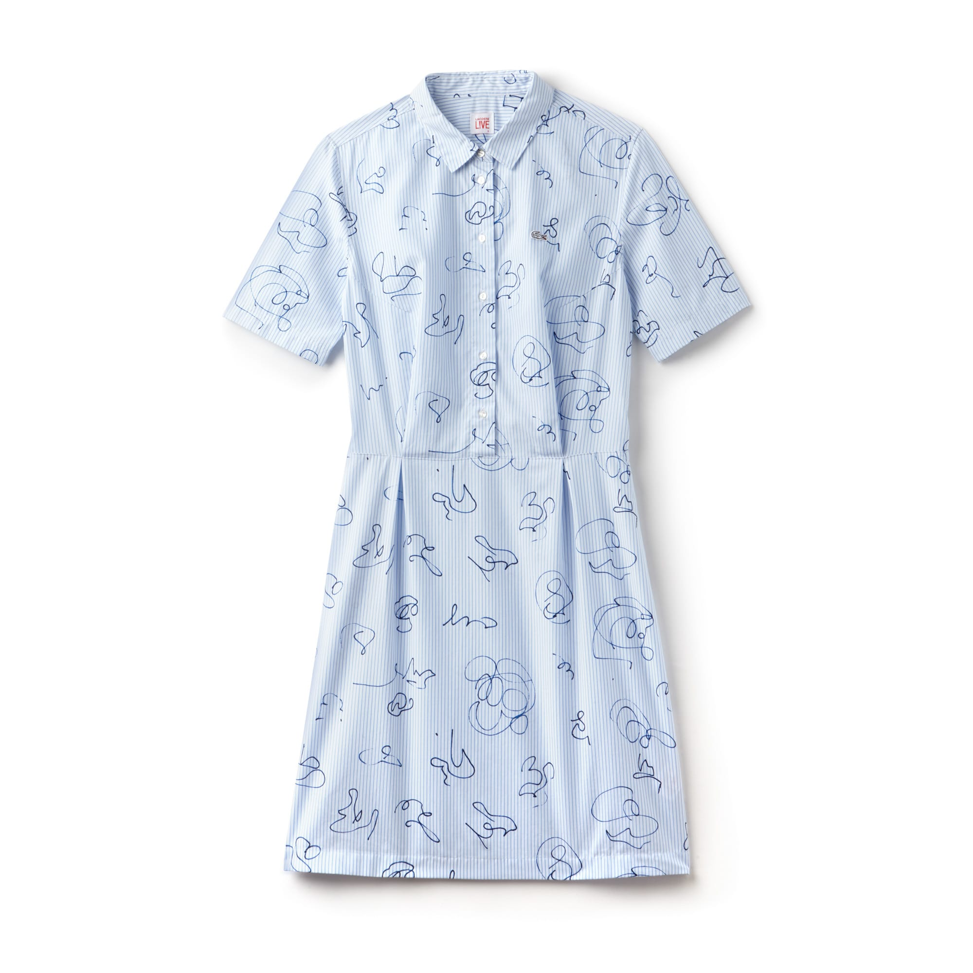 Women's Lacoste LIVE Striped Print Cotton Poplin Shirt Dress