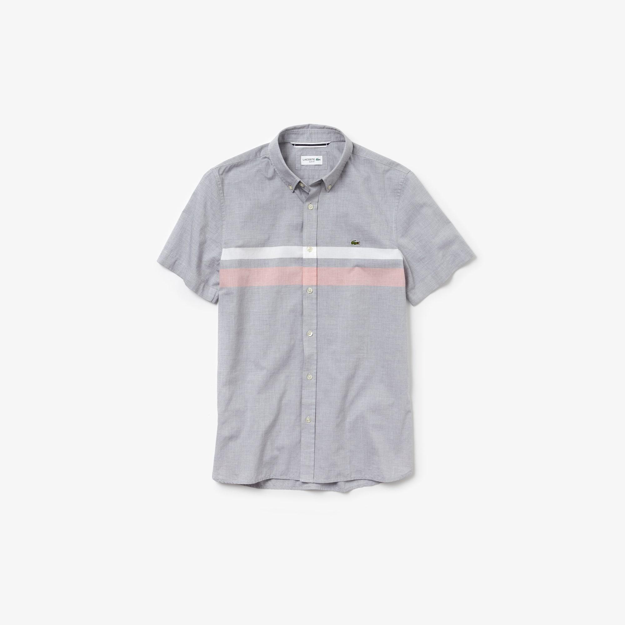 fb7f3c60d5 Men's Slim Fit Tricolour Striped Cotton Short Sleeves Shirt | LACOSTE